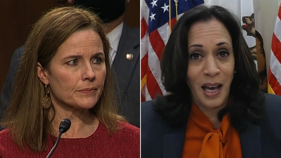 Judge Amy Coney Barrett and California senator Kamala Harris.
