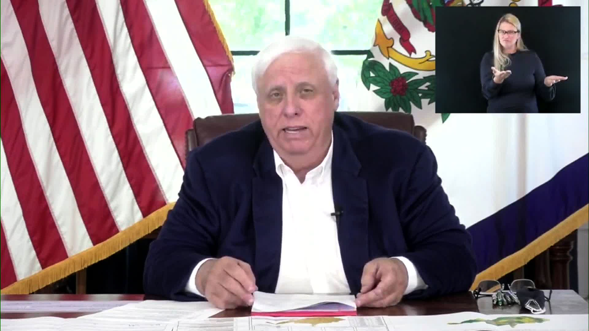 West Virginia Gov. Jim Justice speaks during a briefing on Wednesday.