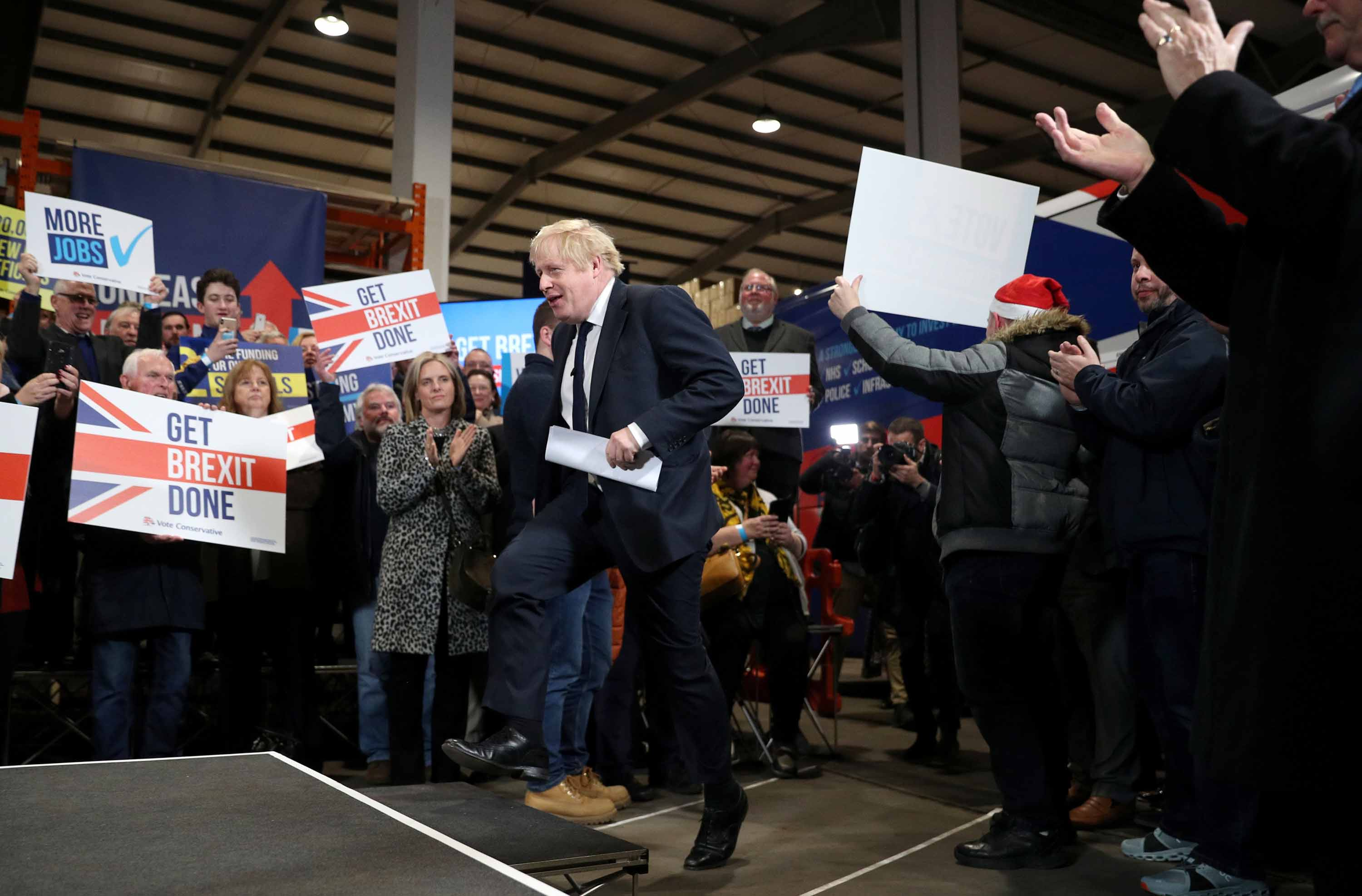 UK Prime Minister Boris Johnson attends a Conservative Party general election rally in Colchester, England on Monday. Photo: Hannah McKay/AFP via Getty Images