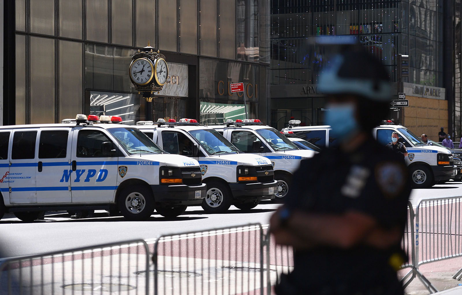 A police officer stands guard on 5th Avenue on June 12, in New York City.