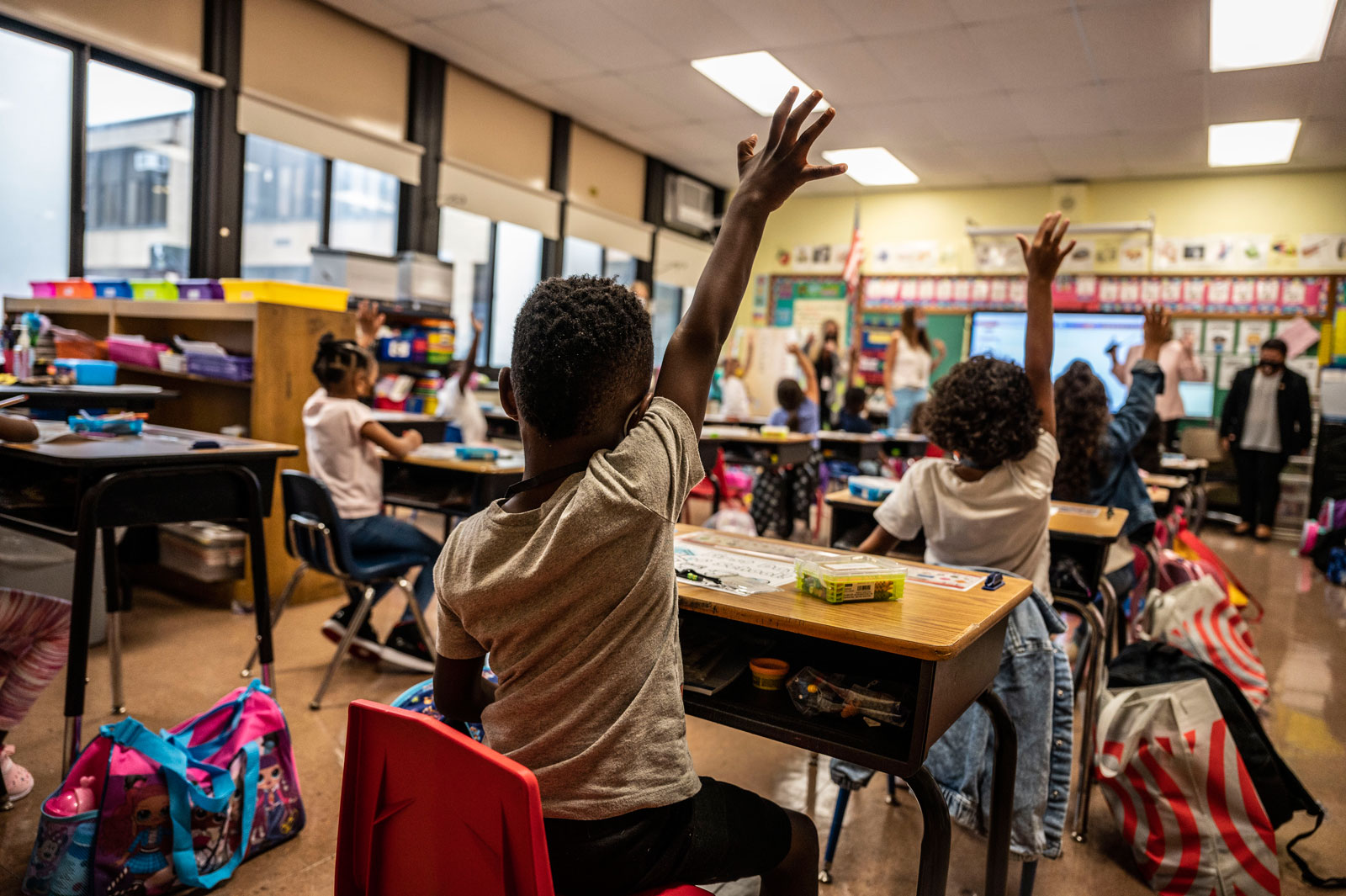 The first day of school at Bayview Avenue School of Arts and Sciences in Freeport, New York on September 1.