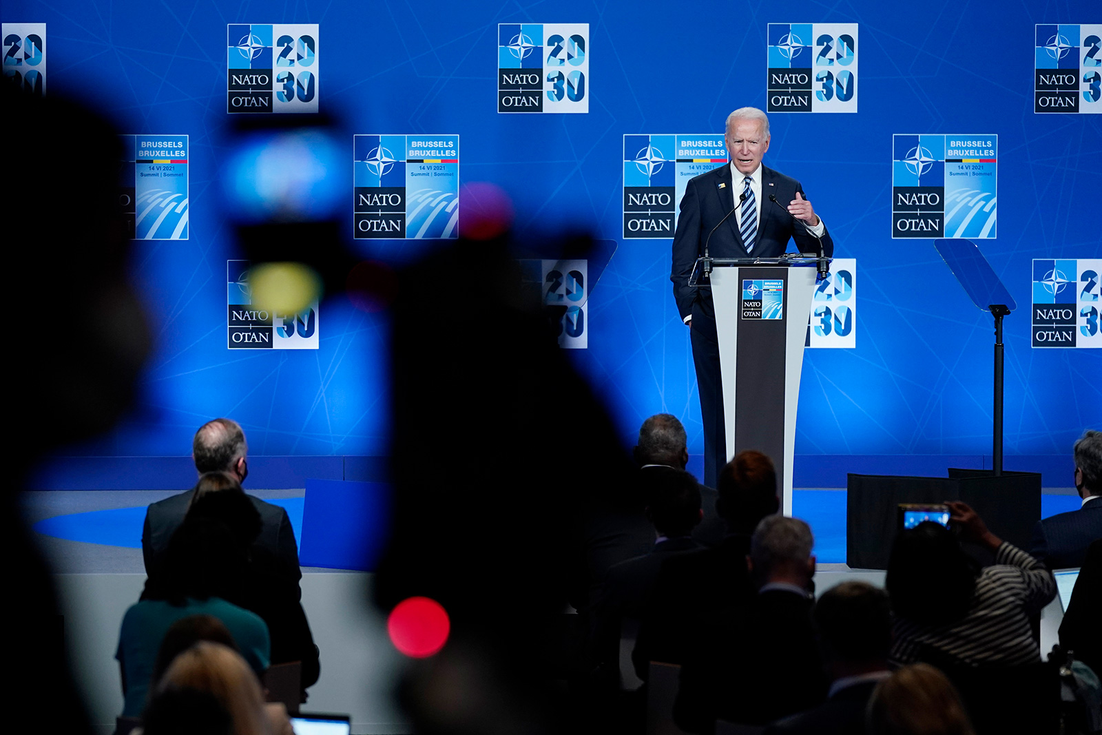 President Joe Biden speaks during a news conference at the NATO summit at NATO headquarters in Brussels, Monday, June 14.