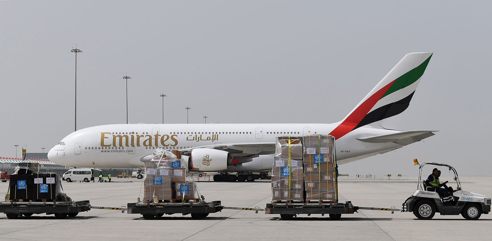 Medical equipment and coronavirus testing kits provided by the World Health Organization are transported at Dubai World Central airport in Dubai on March 2.