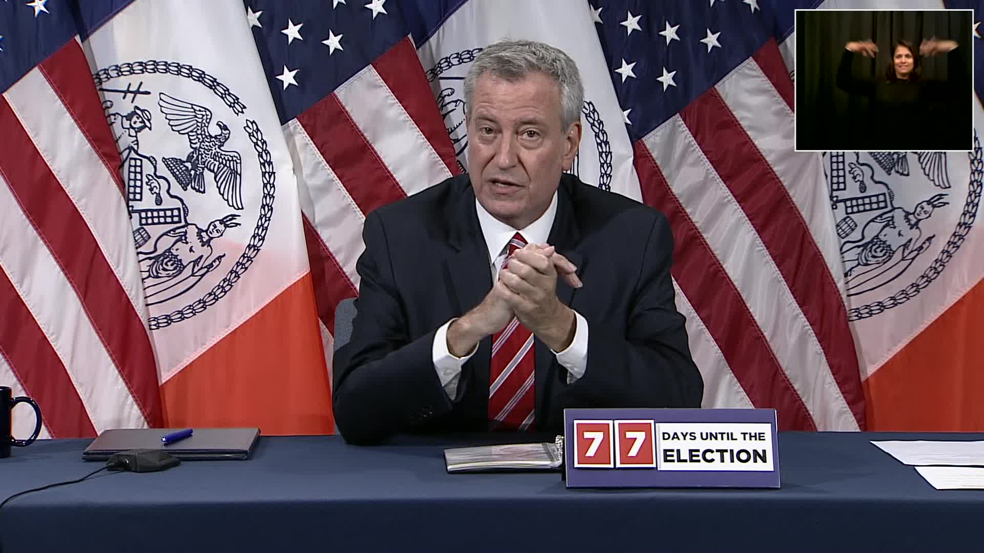 New York City Mayor Bill de Blasio speaks during a press conference in New York City on August 18.