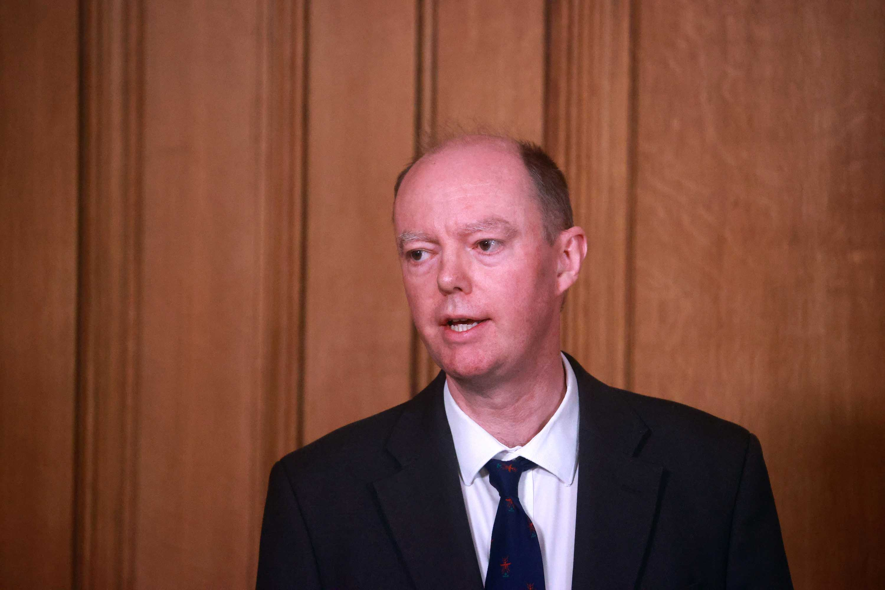 Chris Whitty, the Chief Medical Officer for England, attends a news conference at 10 Downing Street in London, on January 5.