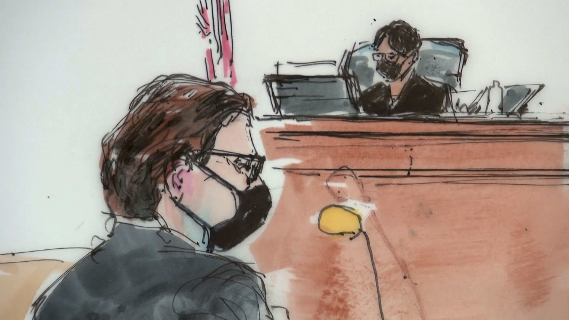 A court sketch shows Britney Spears' attorney Mathew Rosengart, left, and Los Angeles Superior Court Judge Brenda Penny at a hearing in Los Angeles on September 29.