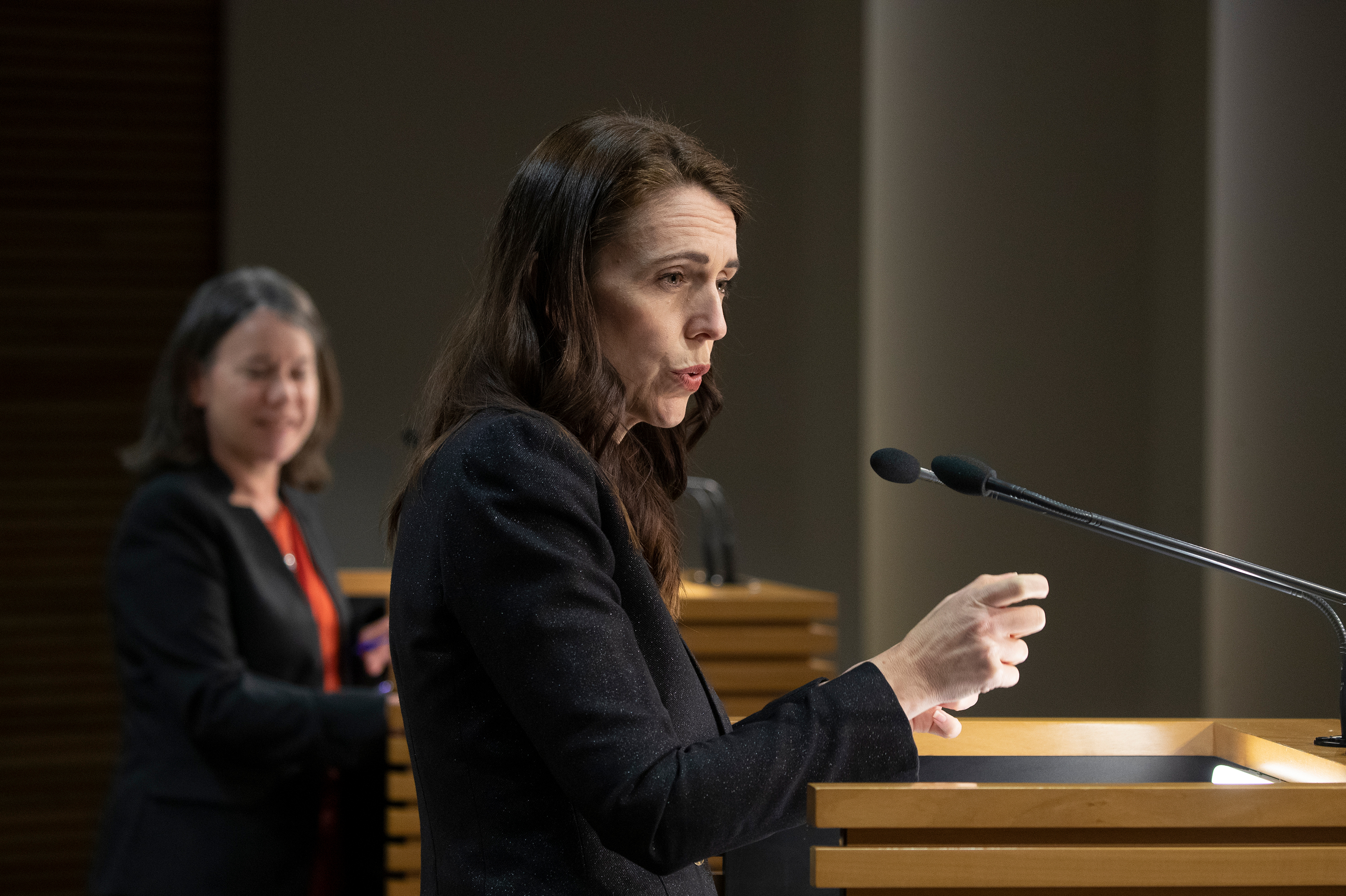 New Zealand Prime Minister Jacinda Ardern speaks during a press conference on Thursday, August 26, in Wellington, New Zealand.