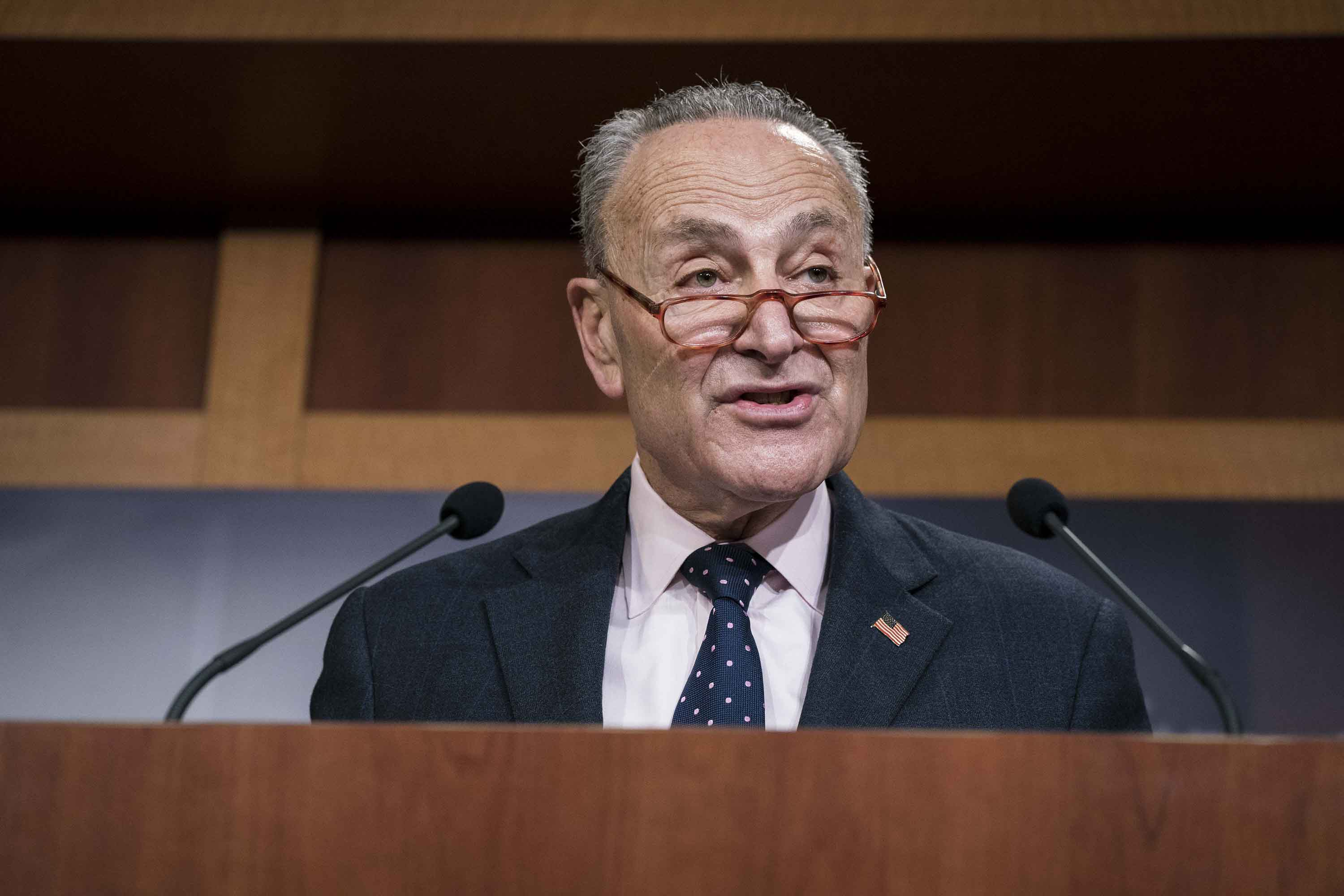 Sen. Chuck Schumer speaks during a news conference in Washington, DC on February 13.