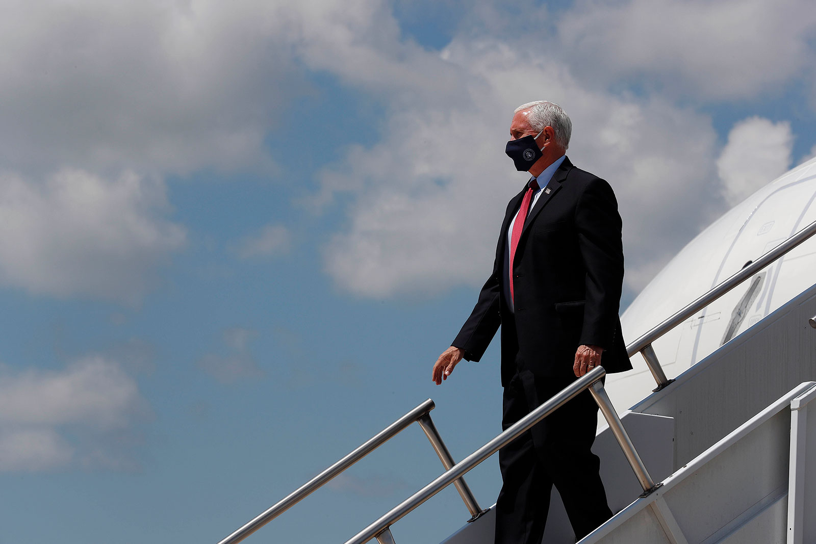 Vice President Mike Pence arrives at Raleigh-Durham International Airport on Wednesday, July 29.