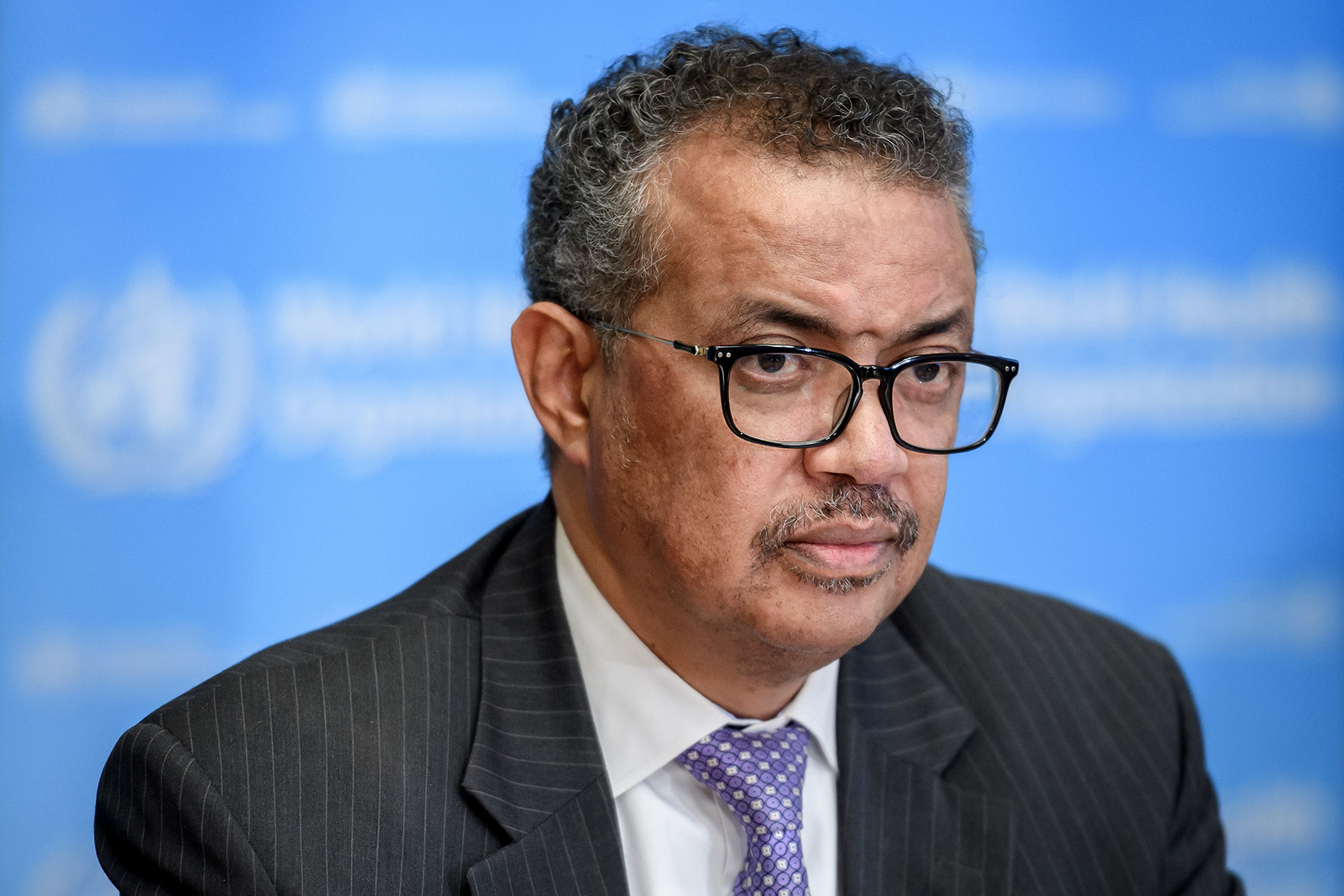 World Health Organization (WHO) Director-General Tedros Adhanom Ghebreyesus attends a daily press briefing on COVID-19 virus at the WHO headquaters in Geneva, on March 9.