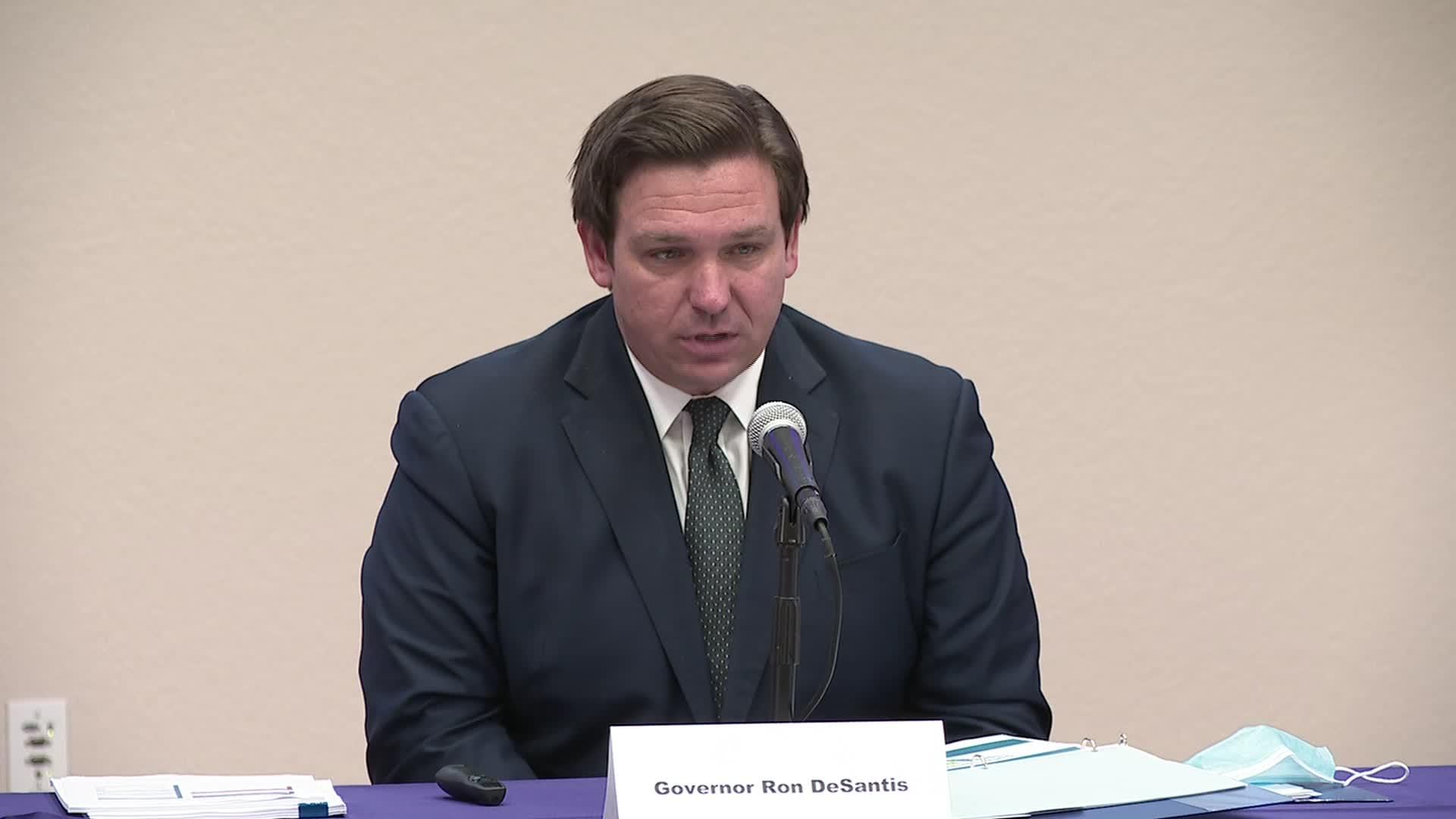 Florida Gov. Ron DeSantis speaks during a press briefing in Pensacola, Florida, on Sunday.