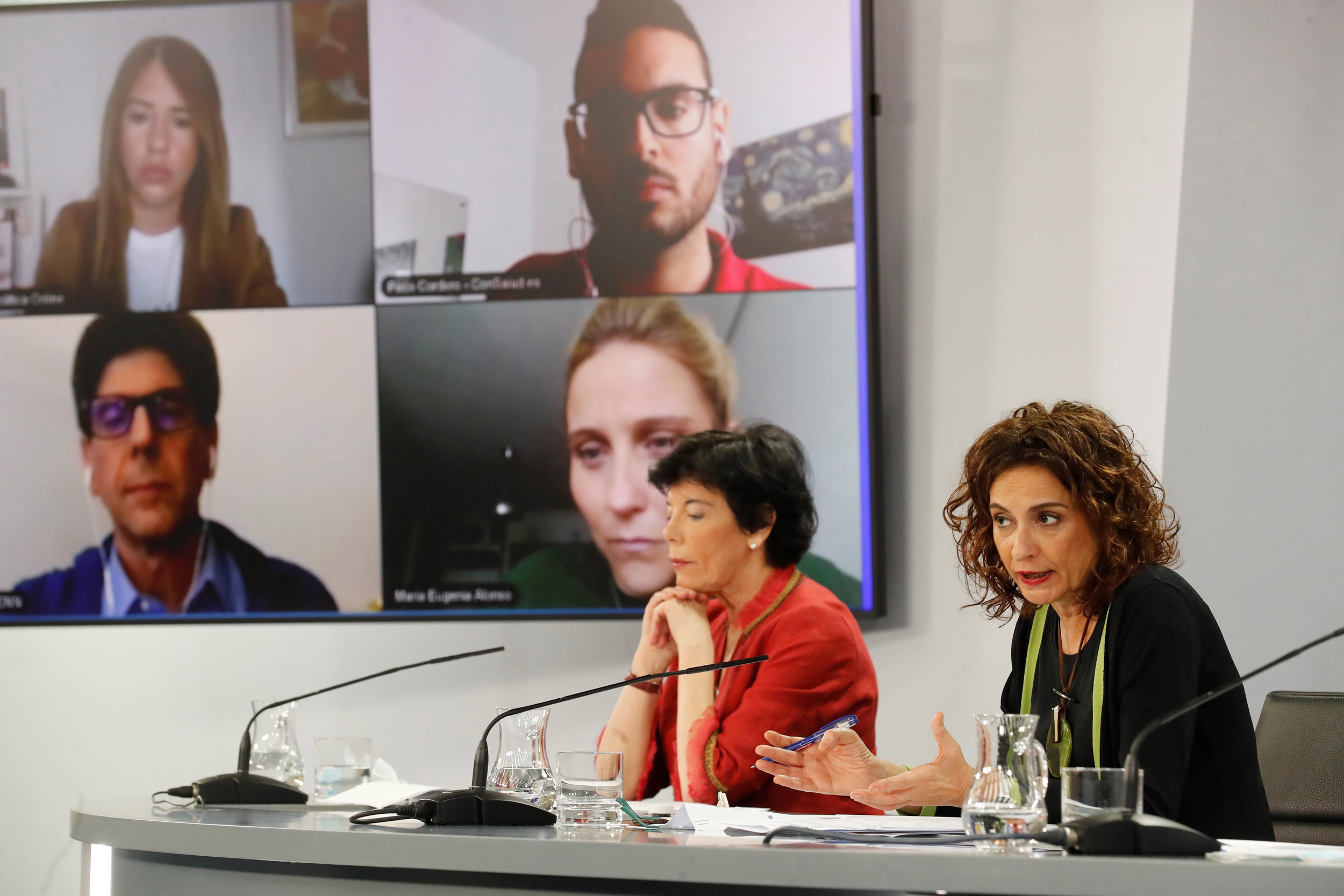 Spanish Education Minister Isabel Celaa, left, and Treasury Minister and Government's spokeswoman Maria Jesus Montero address a press conference after the weekly Cabinet Meeting held at Moncloa Palace in Madrid on June 16.
