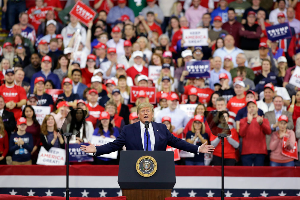 US President Donald Trump speaks during a rally on January 14 in Milwaukee, Wisconsin.