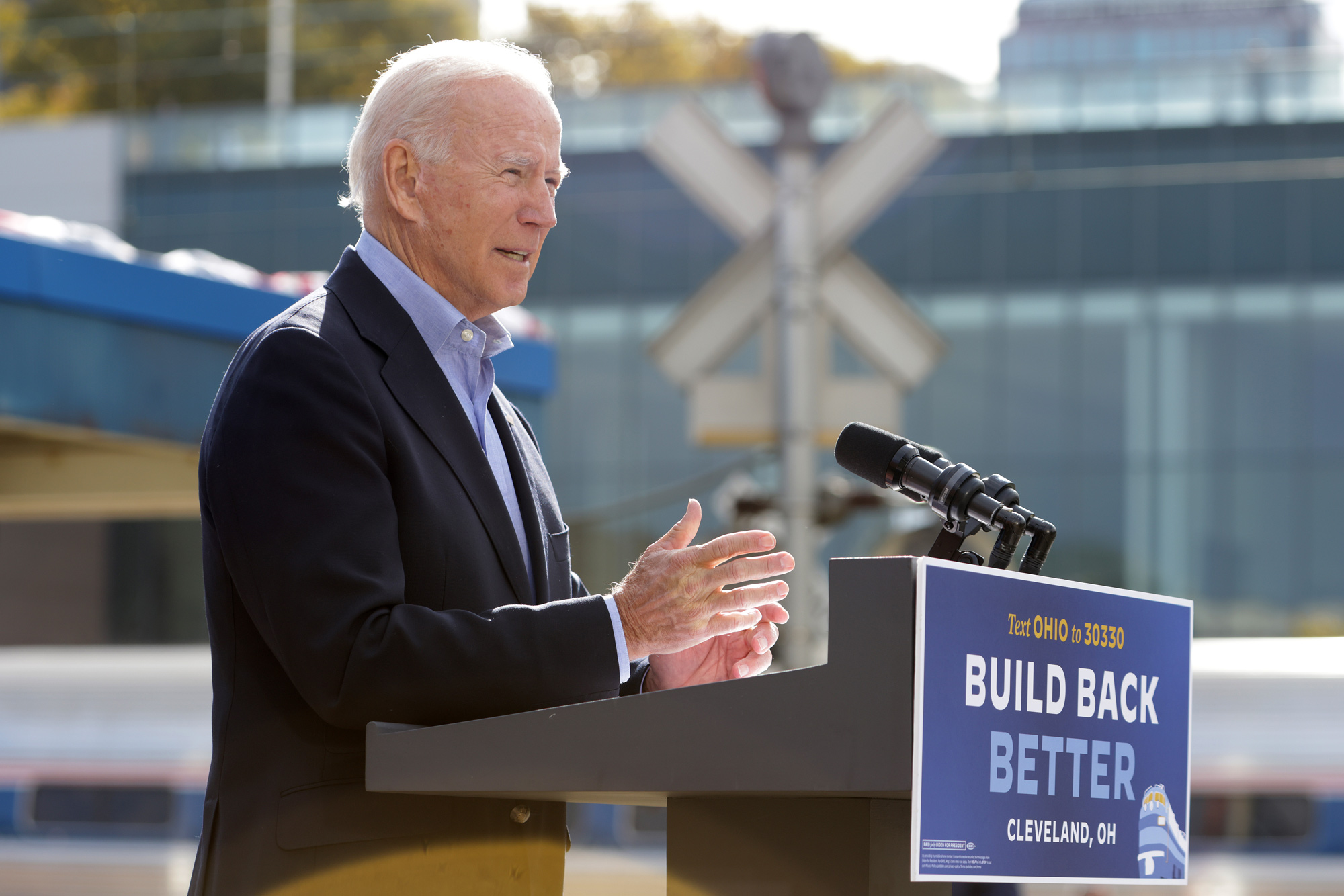 Democratic U.S. presidential nominee Joe Biden speaks during a campaign event to launch a train campaign tour at Cleveland Amtrak Station September 30 in Cleveland, Ohio.