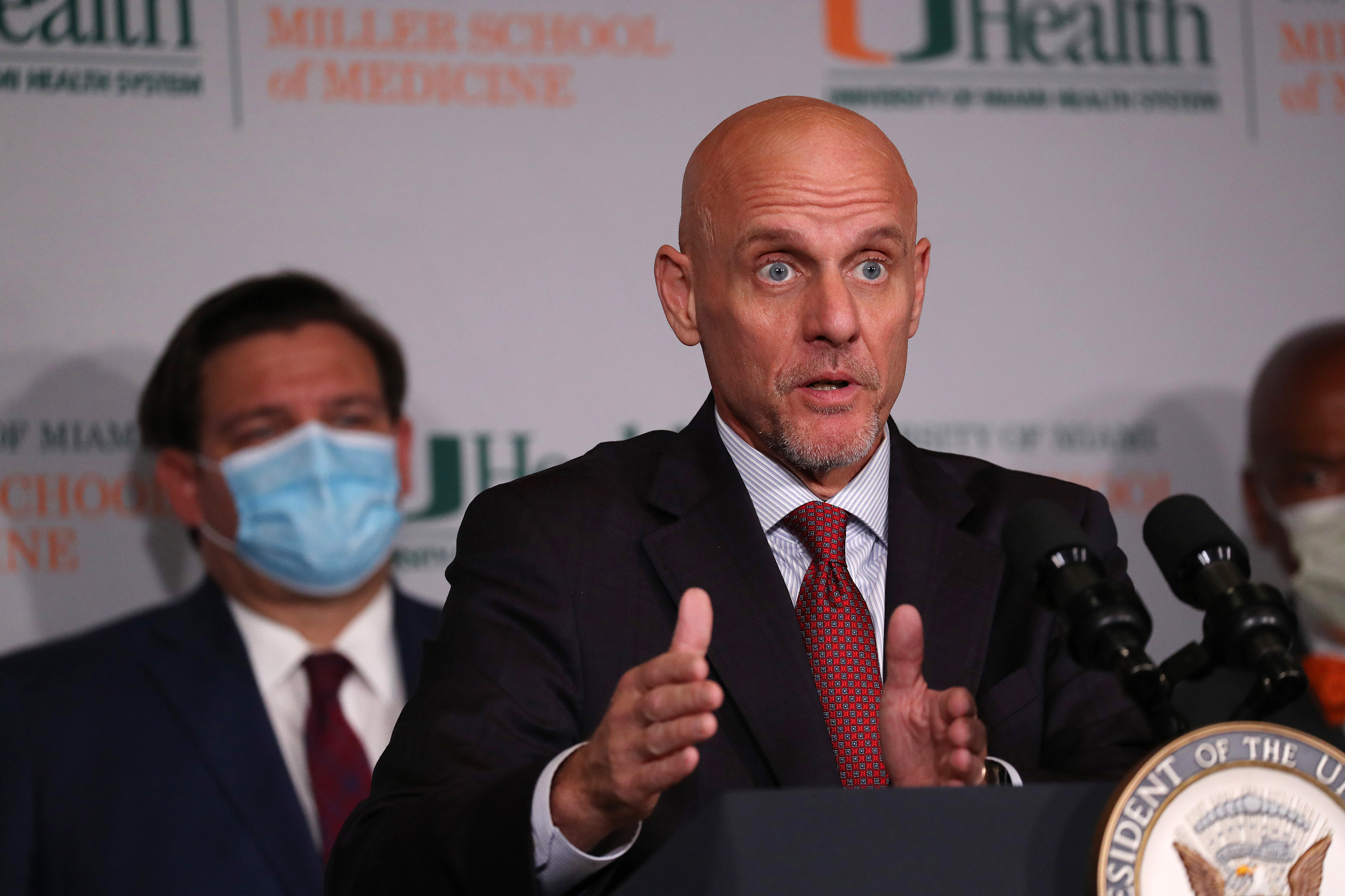 FDA Commissioner Dr. Stephen Hahn speaks during a press conference at the University of Miami Miller School of Medicine on July 27 in Miami.