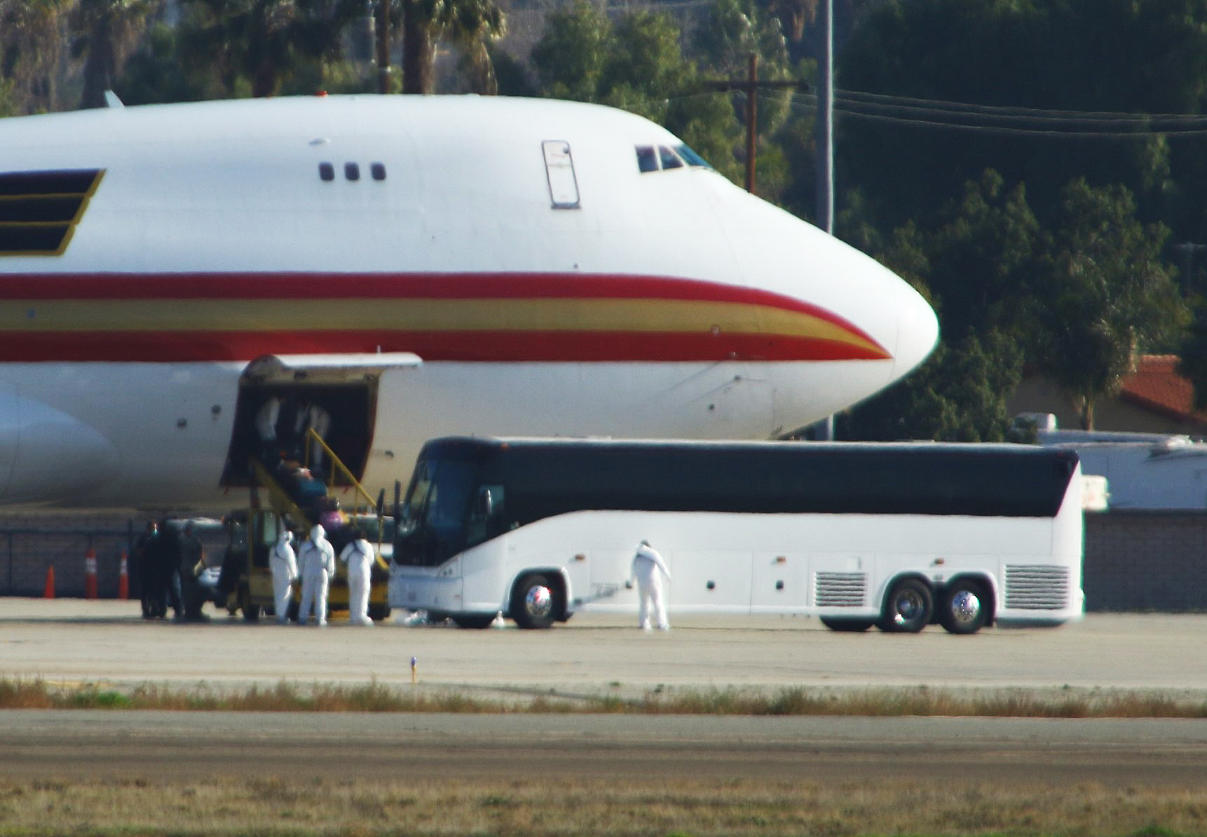A plane carrying evacuees from Wuhan, landing at March Air Reserve Base in California on January 29, 2020.