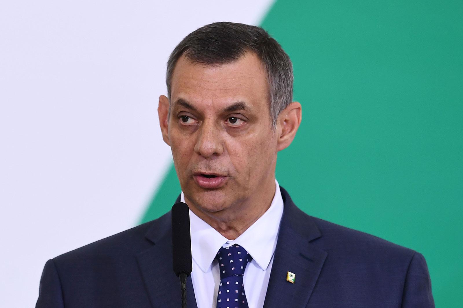 Brazilian presidency spokesman Otavio Rêgo Barros speaks at the Planalto Palace in Brasilia, on April 11, 2019.