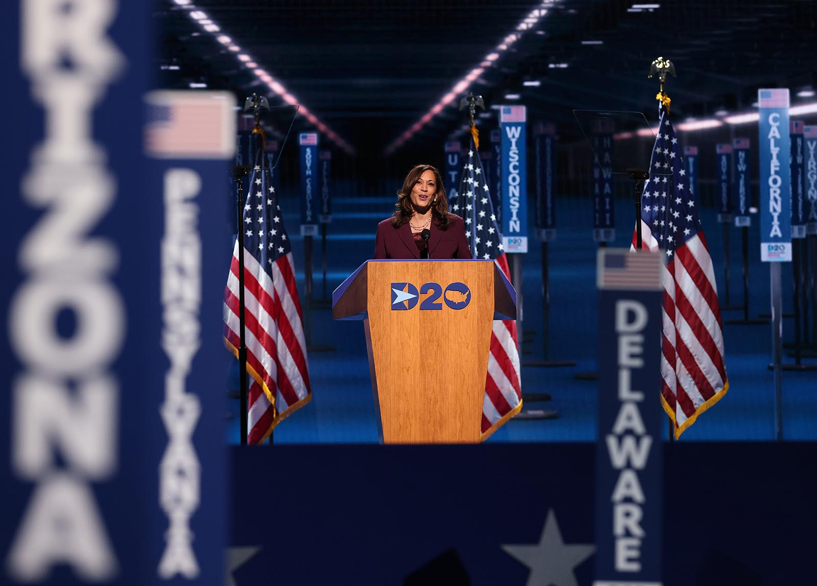 Democratic vice presidential nominee Sen. Kamala Harris speaks on the third night of the Democratic National Convention from the Chase Center on August 19.