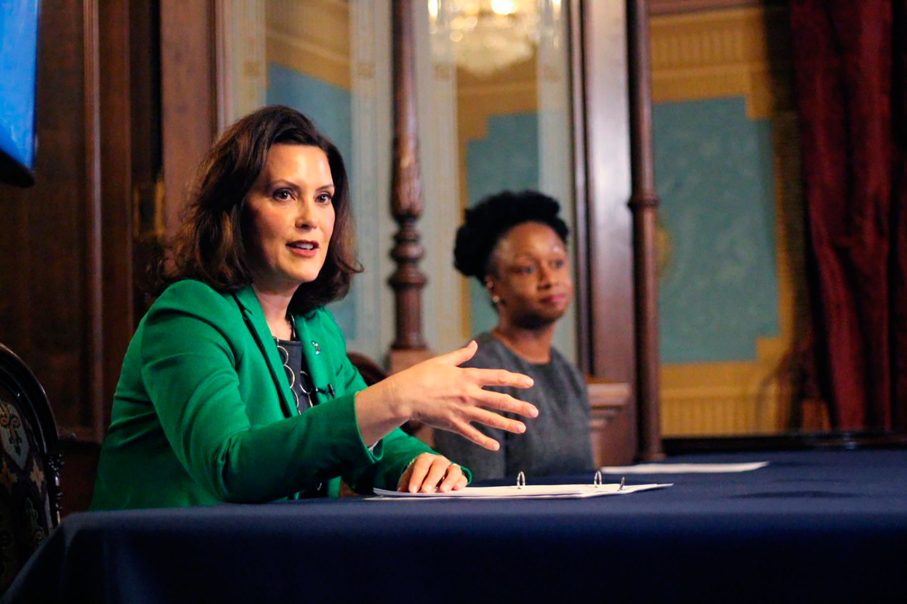 Gov. Gretchen Whitmer gives a speech on April 9, in Lansing, Michigan.