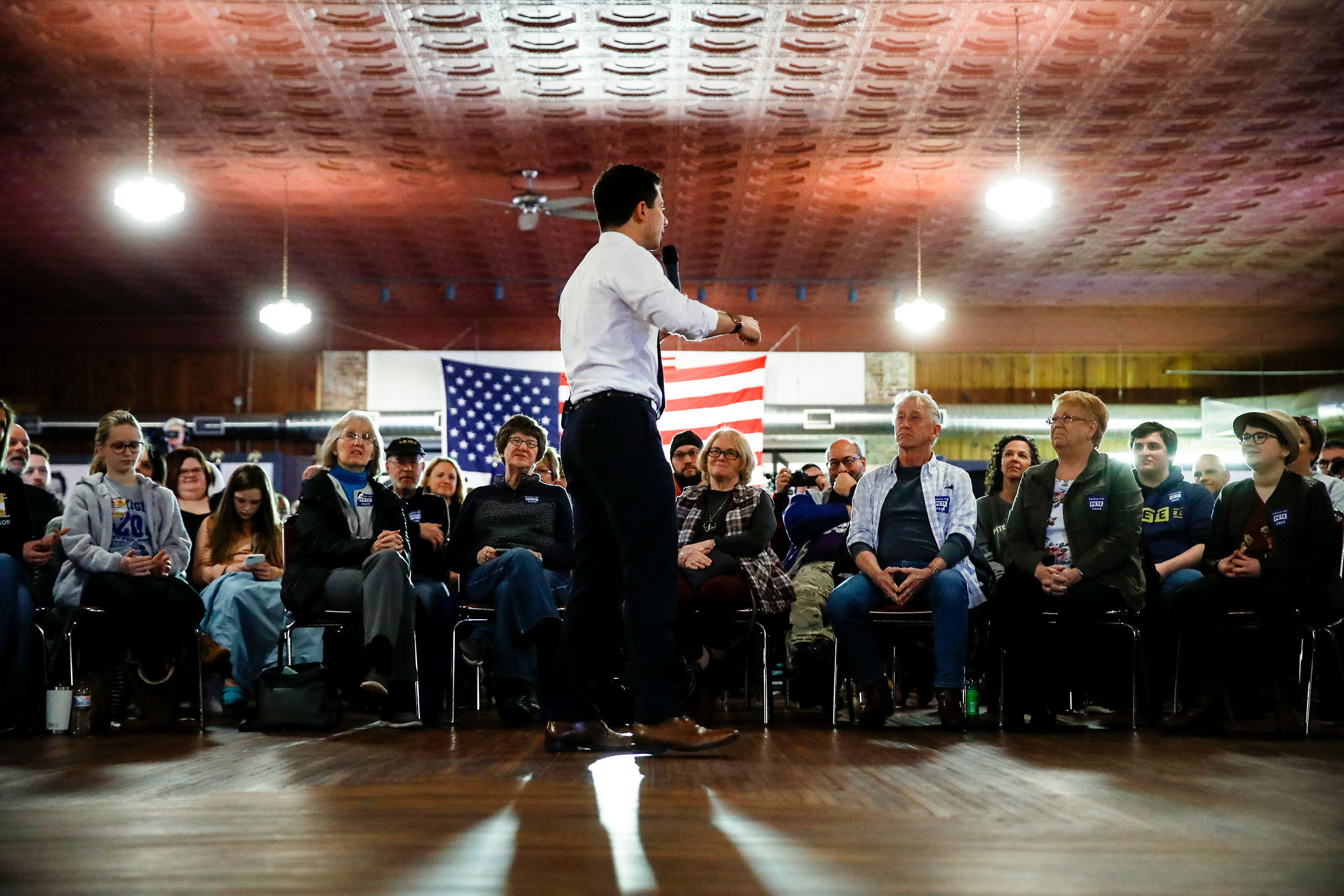 Pete Buttigieg speaks during a campaign event on Saturday.