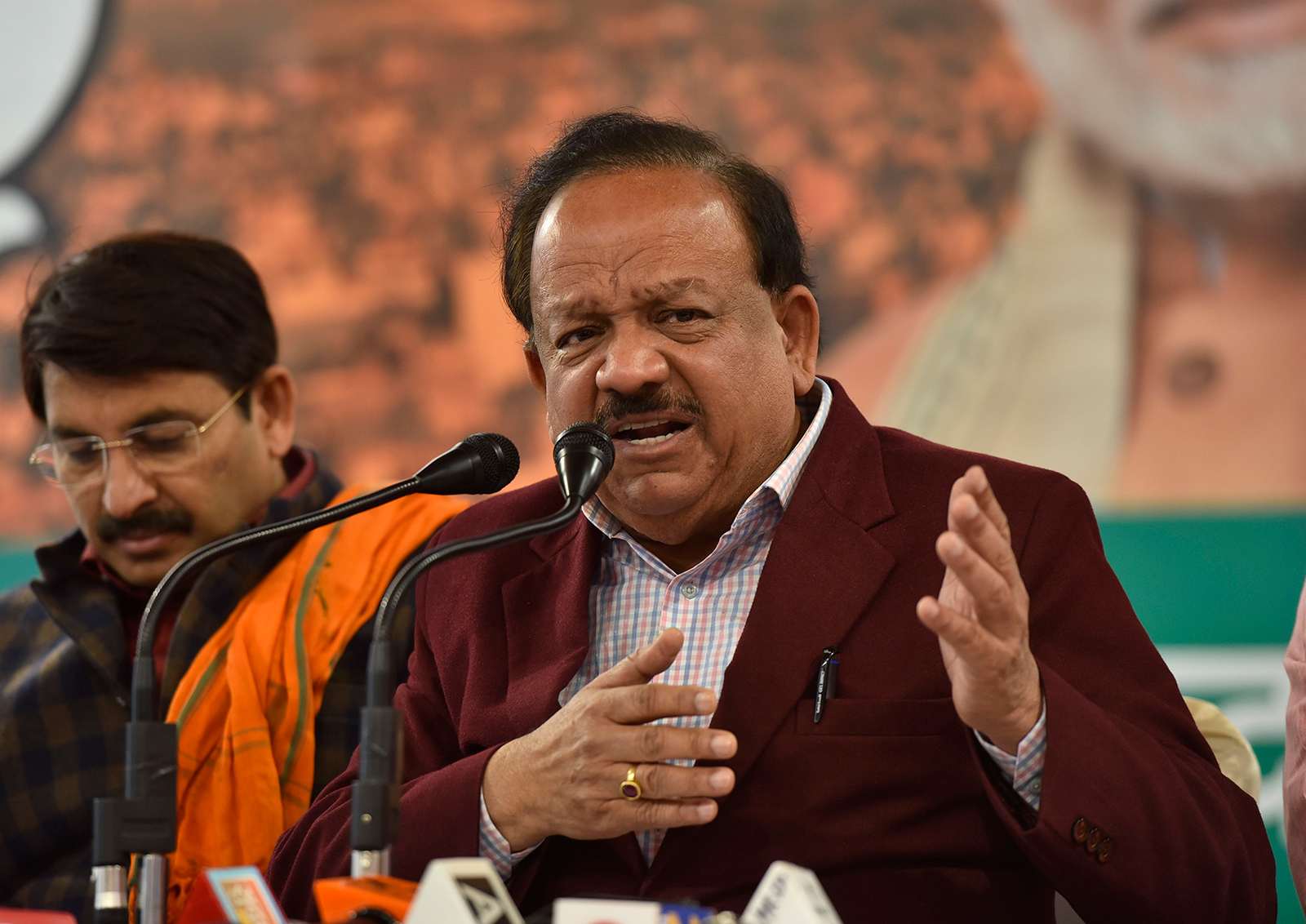 Union Ministry of Health and Family Welfare Dr. Harsh Vardhan addresses a news conference in New Delhi, India, on February 4.