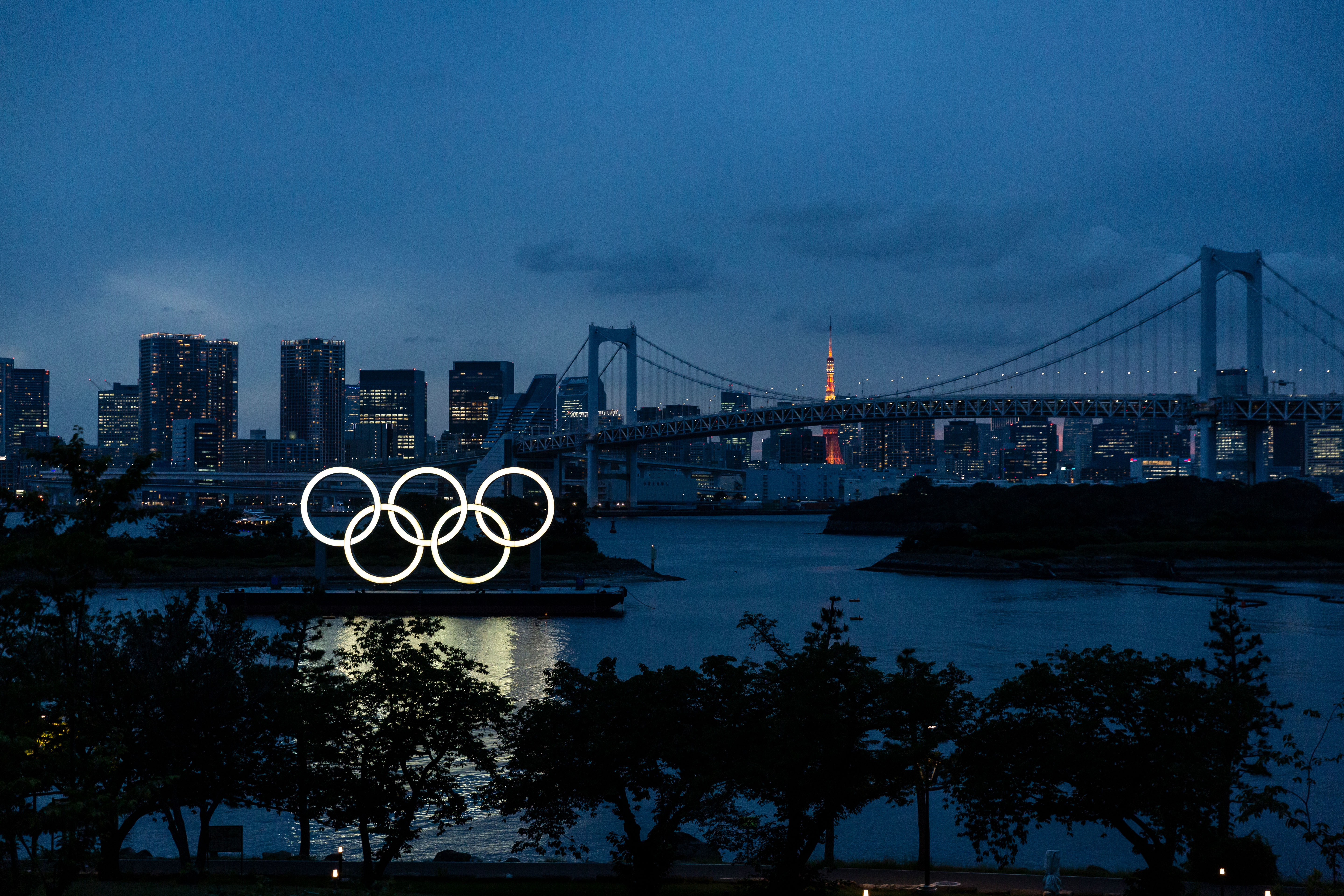 The Olympic rings are displayed by the Odaiba Marine Park in Tokyo on June 3.