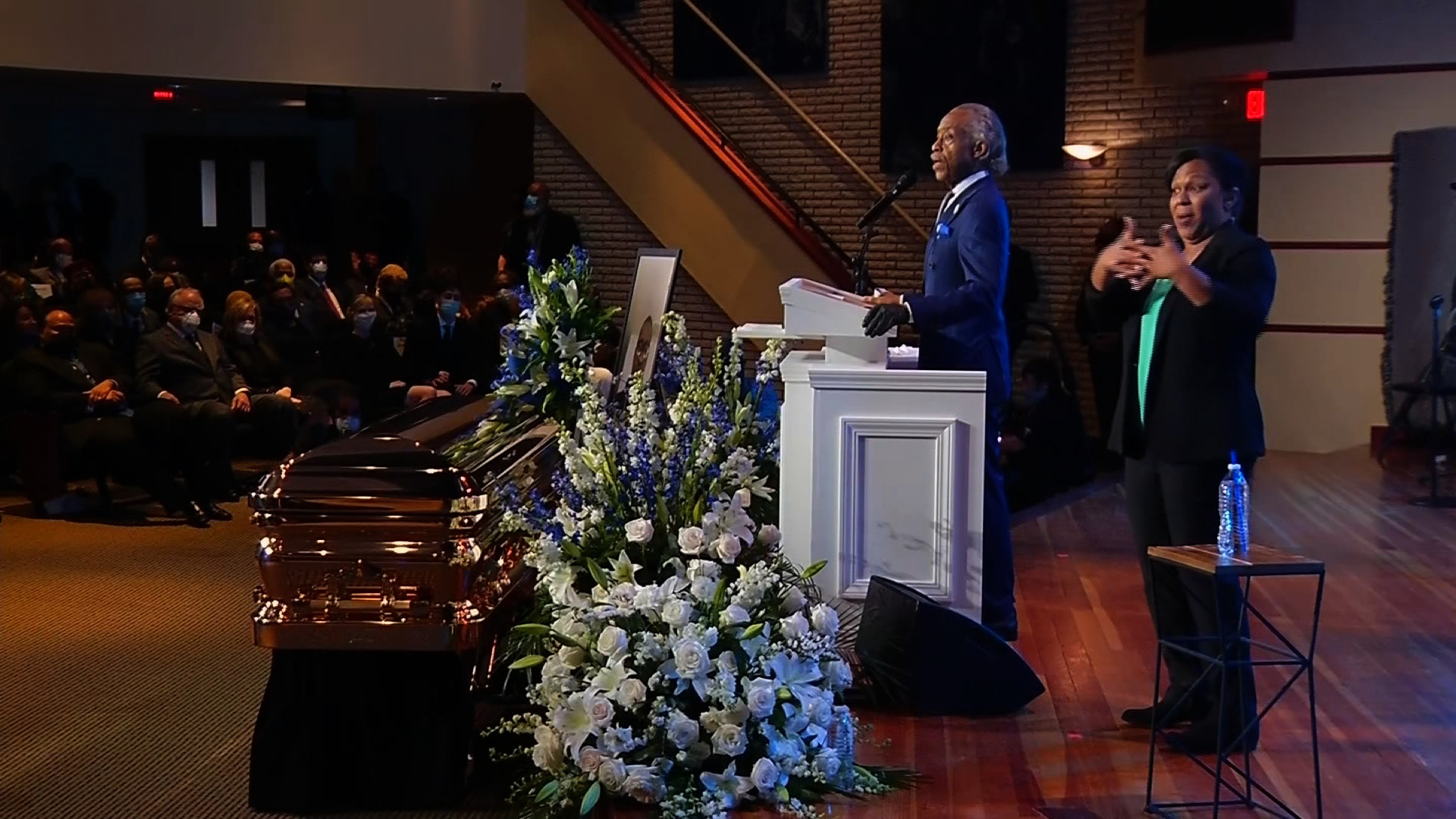 Rev. Al Sharpton speaks at George Floyd's memorial service in Minneapolis, on June 4.