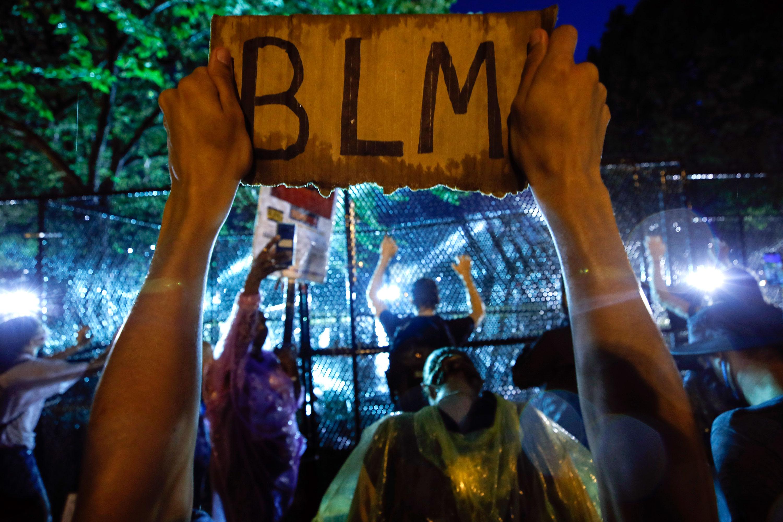 Demonstrators protest near the White House on June 4 in Washington.