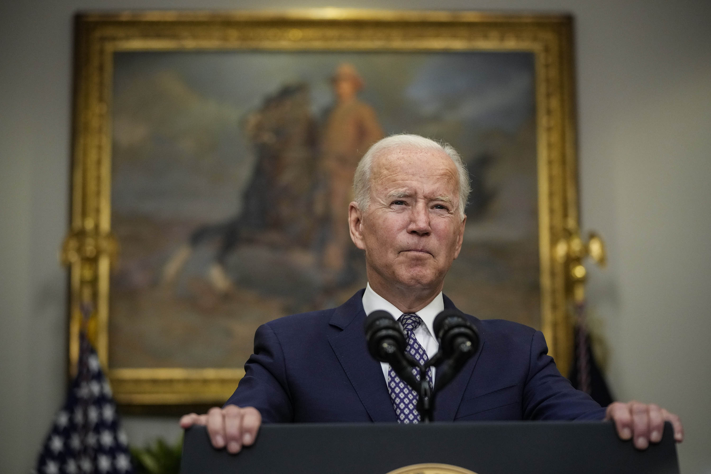 President Joe Biden speaks about the situation in Afghanistan from the White House in Washington, DC, on August 24.