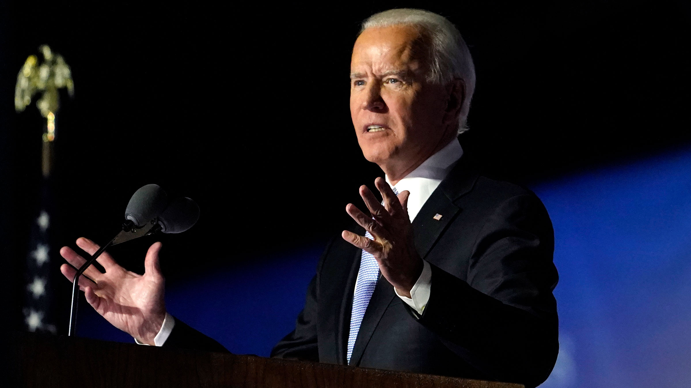 President-elect Joe Biden speaks on Saturday, November 7 in Wilmington, Delaware.