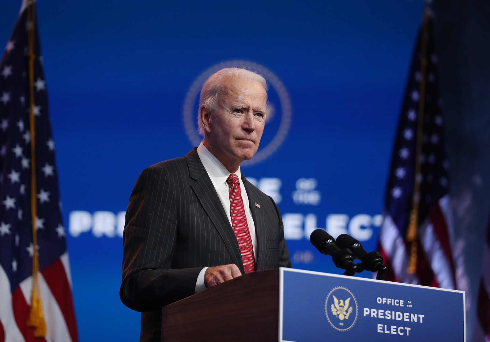 President-elect Joe Biden speaks as he addresses the media after a virtual meeting with the National Governors Association's executive committee at the Queen Theater on November 19, in Wilmington, Delaware.
