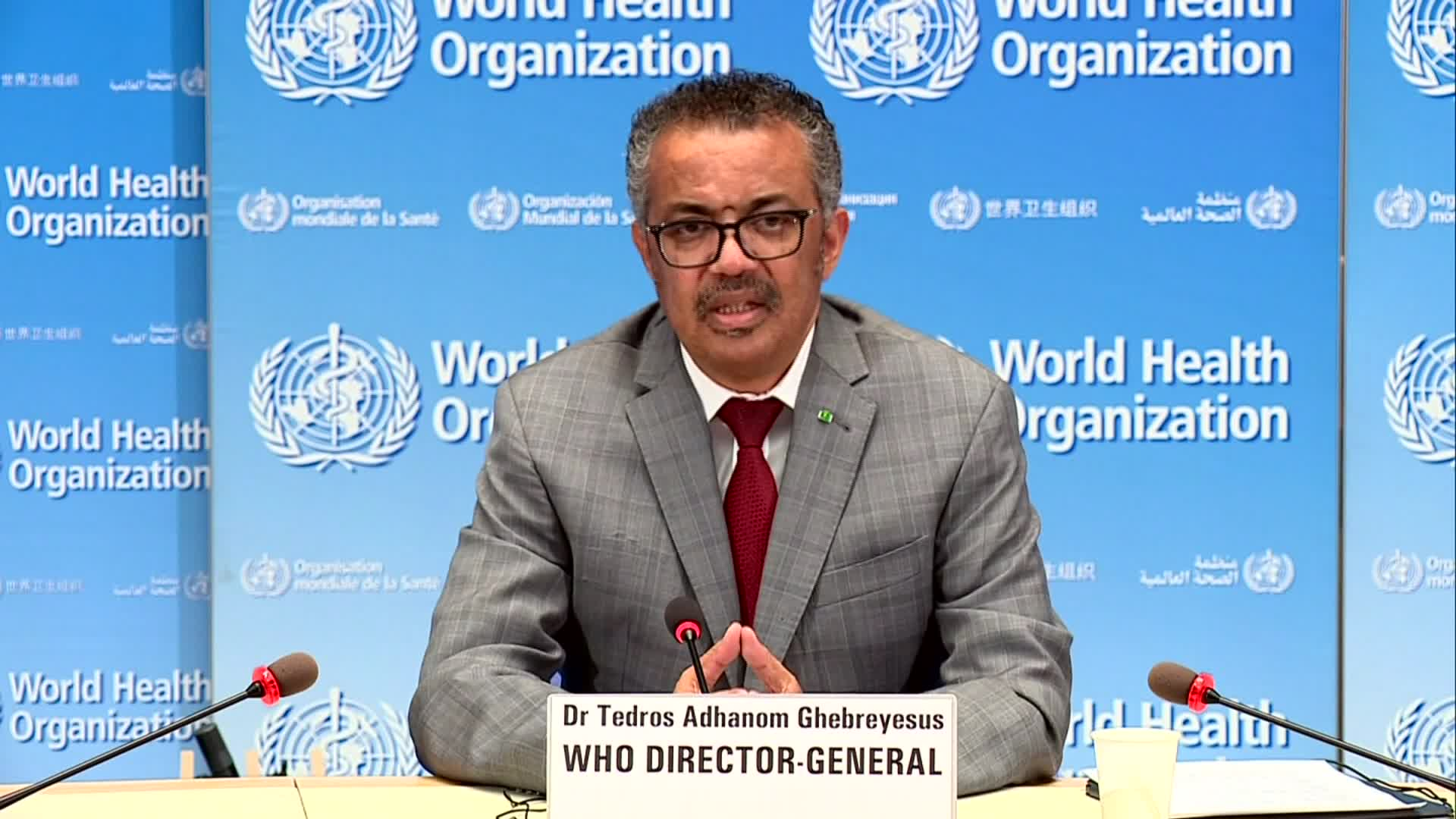 Director-General Tedros Adhanom Ghebreyesus speaks during a press conference in Geneva, Switzerland, on June 1.