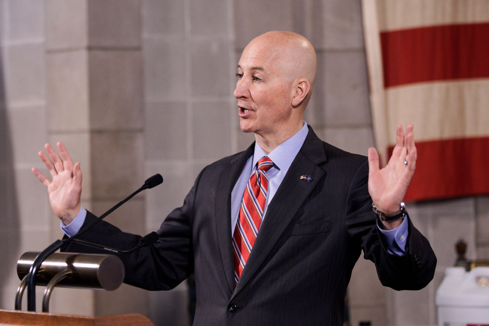 Nebraska. Gov. Pete Ricketts speaks at a news conference in Lincoln, Nebraska, on Friday, May 1.