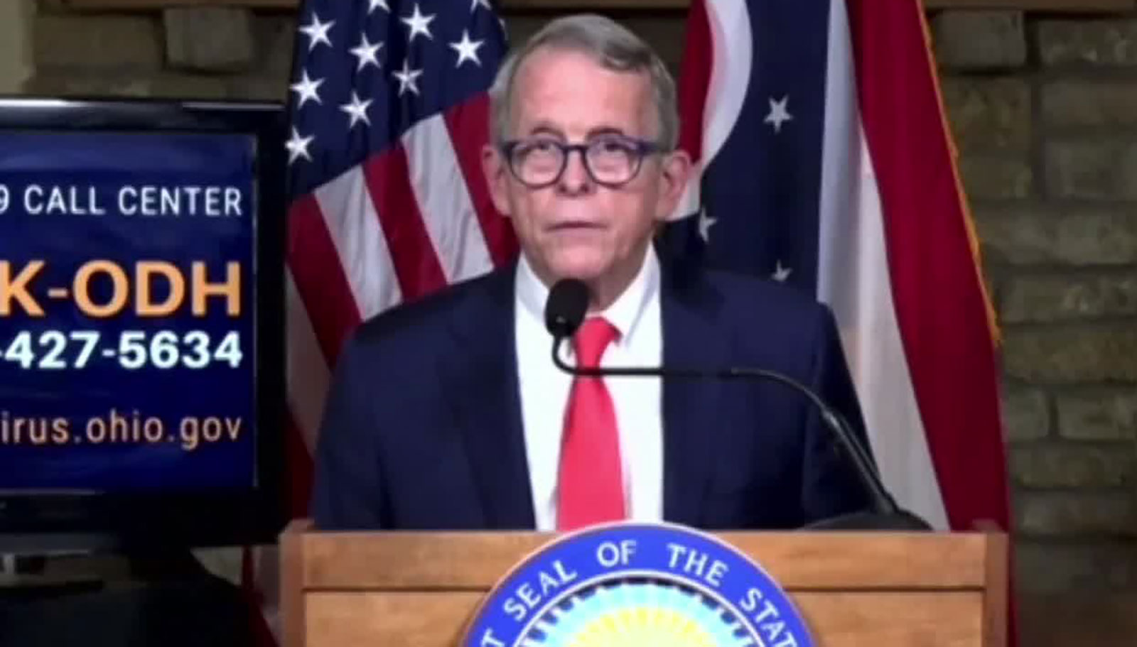 Gov. Mike DeWine speaks during a news conference on Thursday, September 10.