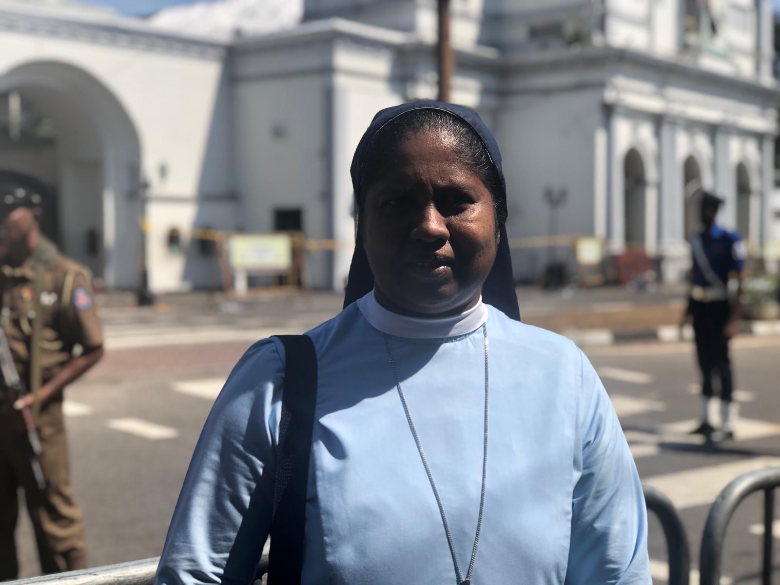 Sister Ramoshini Fernando outside of St. Anthony's Shrine in Colombo, Sri Lanka