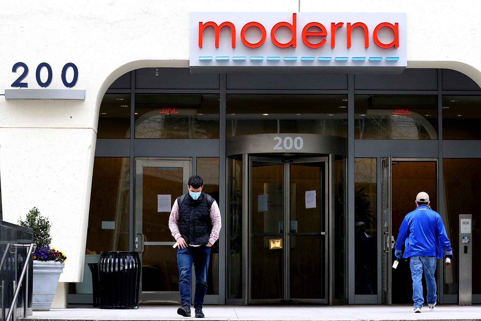 A view of Moderna headquarters on May 8, in Cambridge, Massachusetts. Moderna was recently given FDA approval to continue to phase 2 of a coronavirus vaccine trials with volunteers.