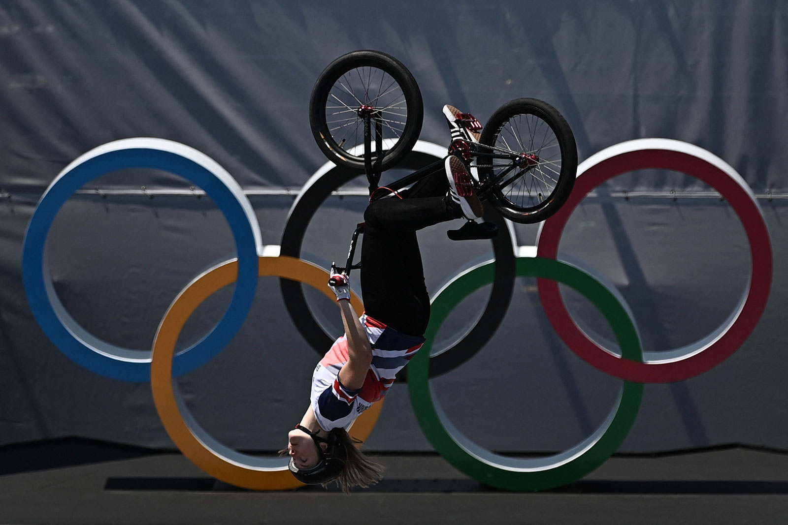 Britain's Charlotte Worthington competes in the cycling BMX freestyle park final on August 1.