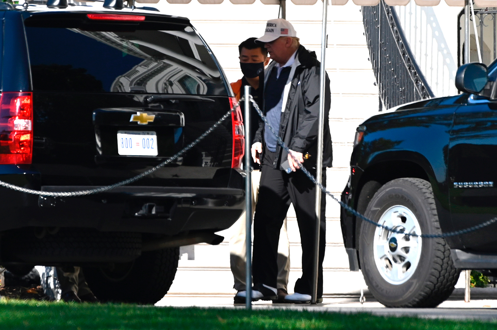 President Donald Trump walks to the motorcade on the South Lawn of the White House in Washington, DC, on November 7.