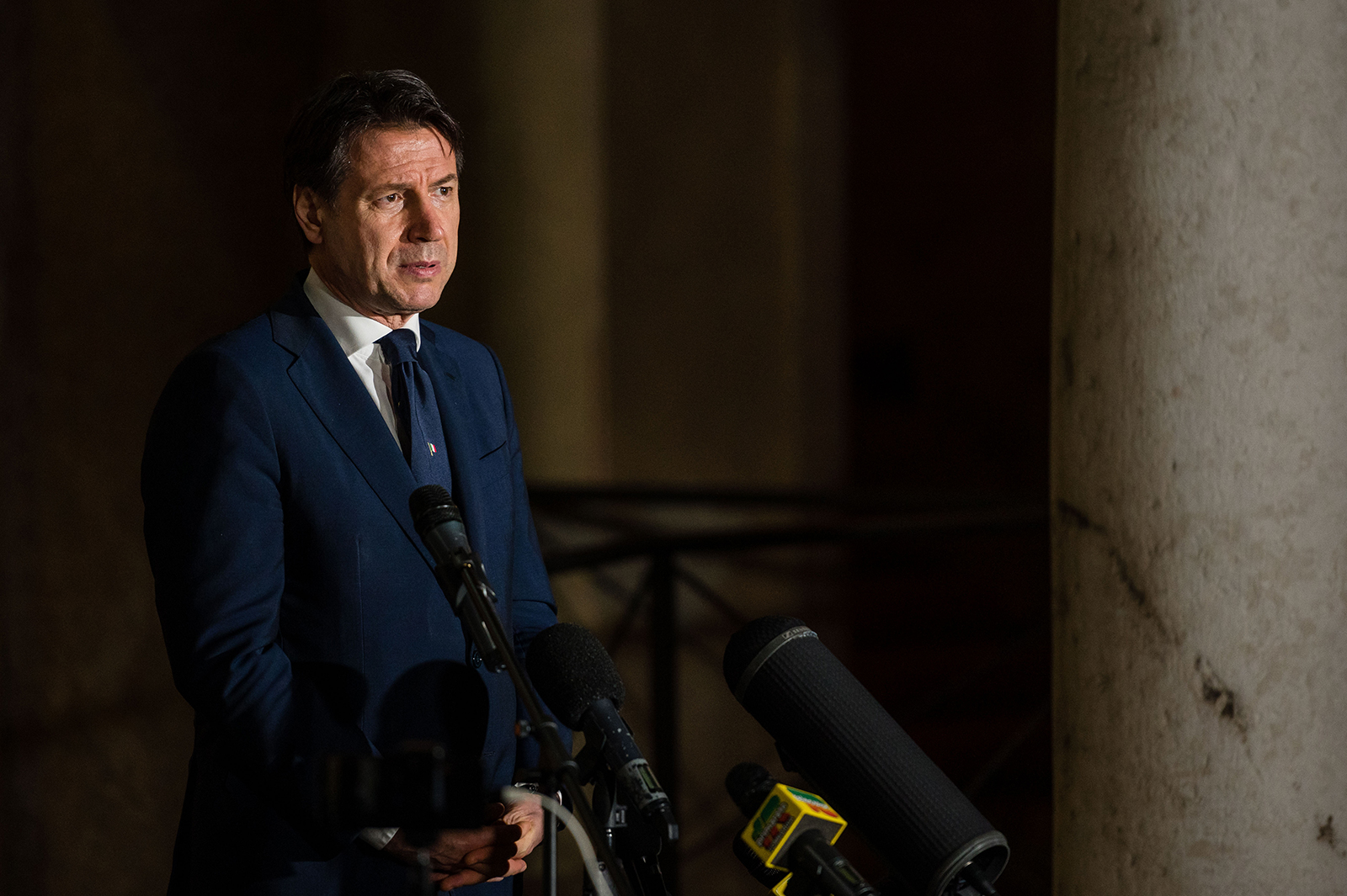 Italian Prime Minister Giuseppe Conte makes a statement to journalists in Cremona, Italy, on April 28.