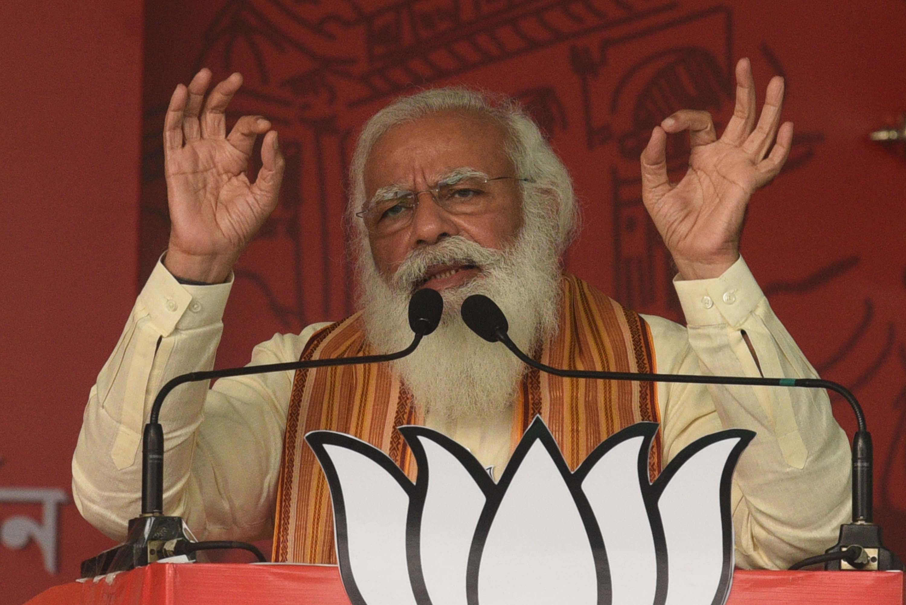 India's Prime Minister Narendra Modi addresses a public rally in North 24 Parganas, India, on April 12.