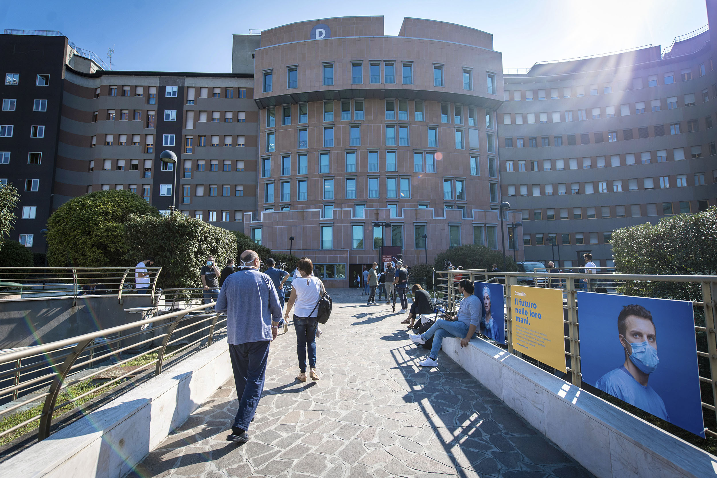 A view of the San Raffaele hospital where former Italian premier Silvio Berlusconi is admitted, in Milan, Italy, on Friday, September 4.
