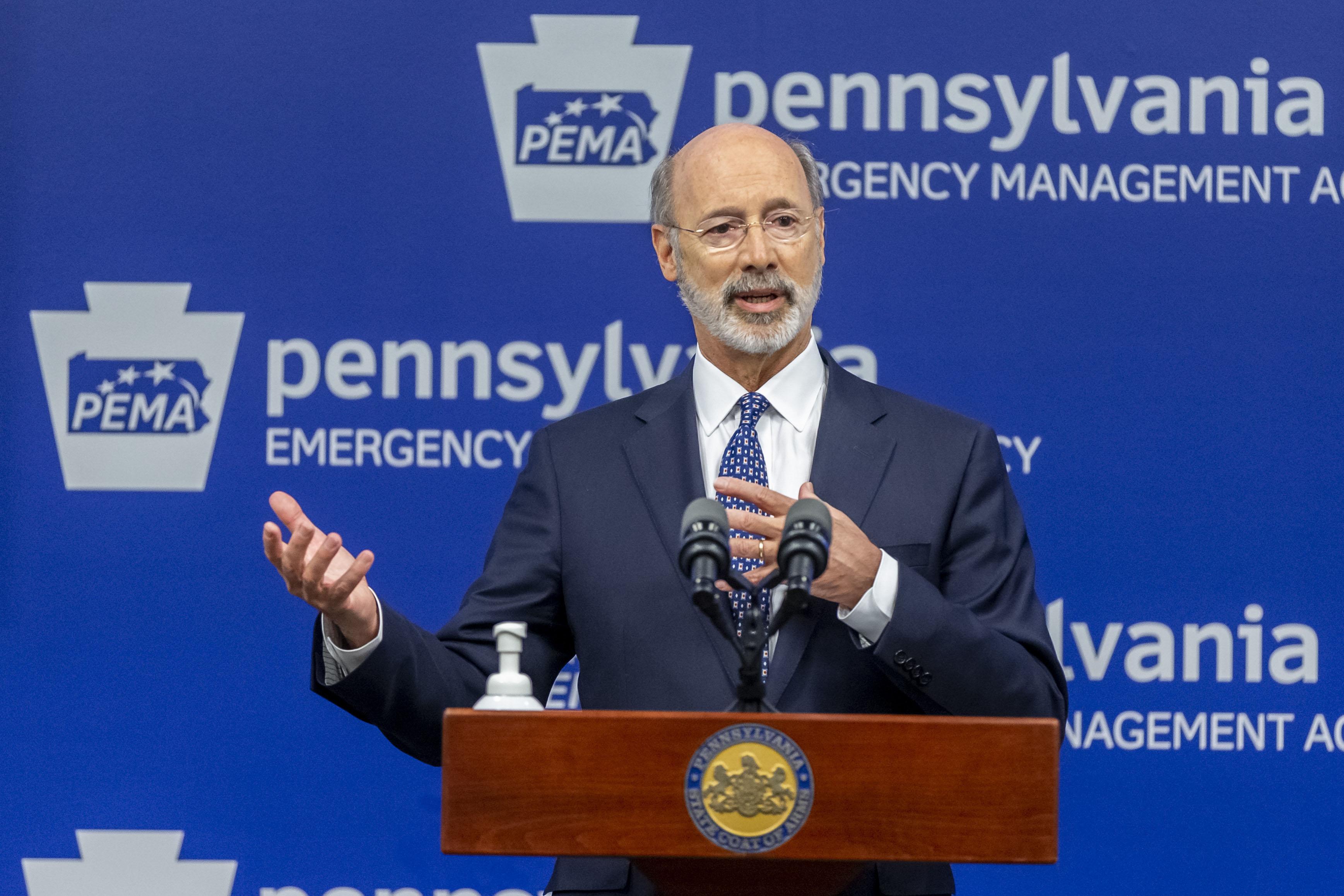 PennsylvaniaGov. Tom Wolf speaks with the media in Harrisburg, Pennsylvania, on May 29.