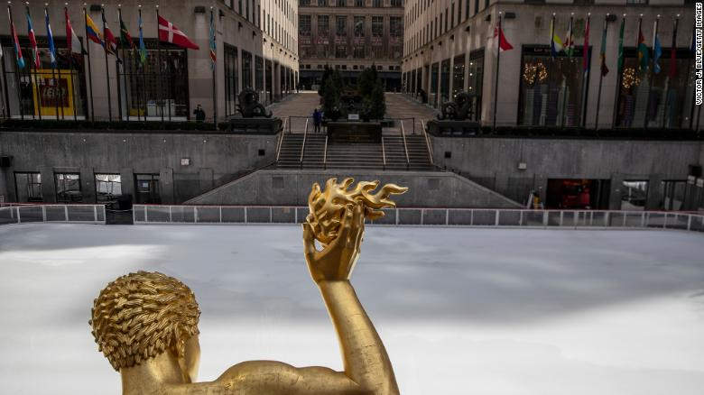 The ice skating rink at Rockefeller Center is empty as it sits closed in the wake of the coronavirus outbreak.