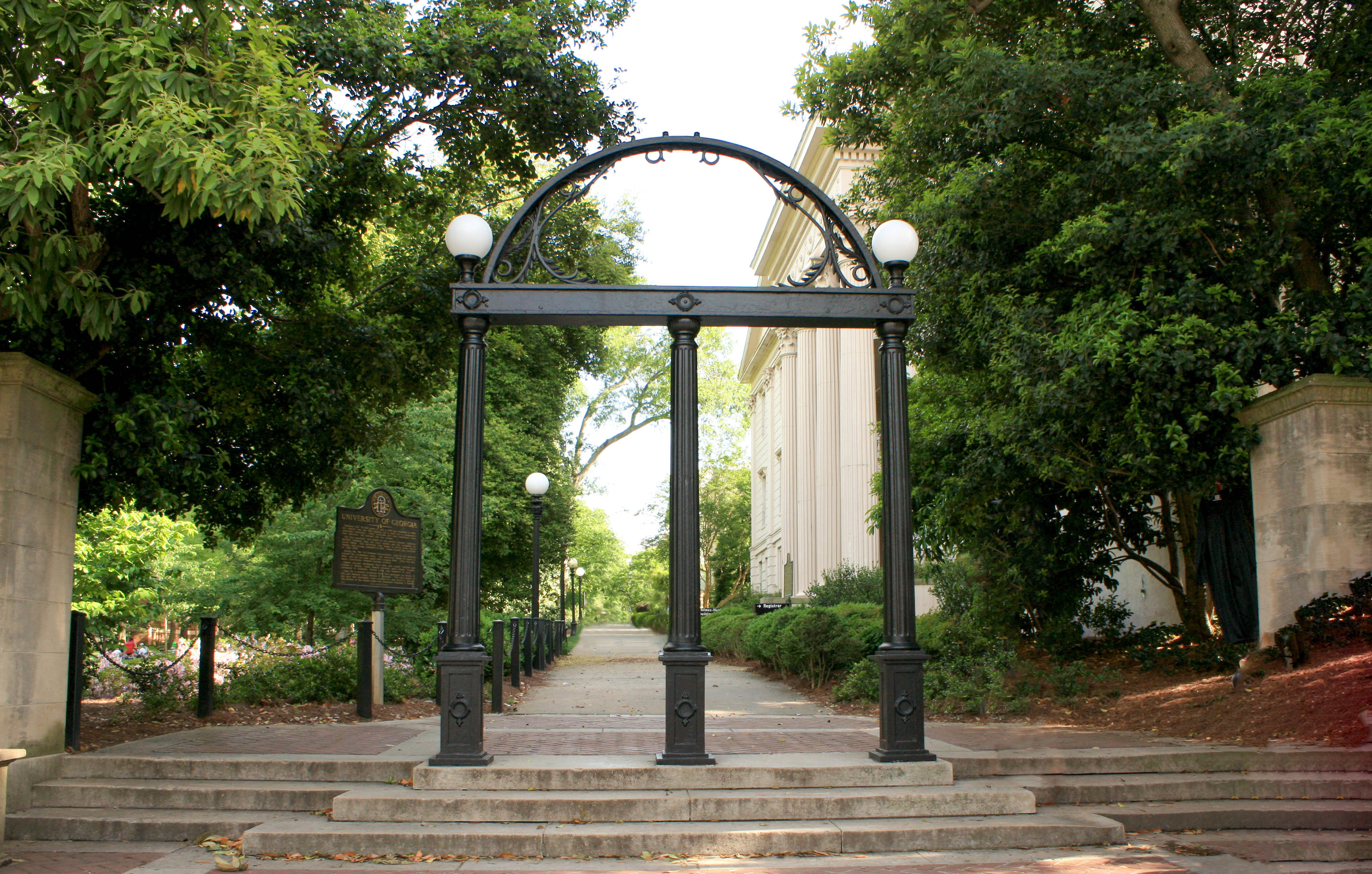The Arch is seen at the entrance of the University of Georgia campus in Athens, Georgia, on April 27, 2017.