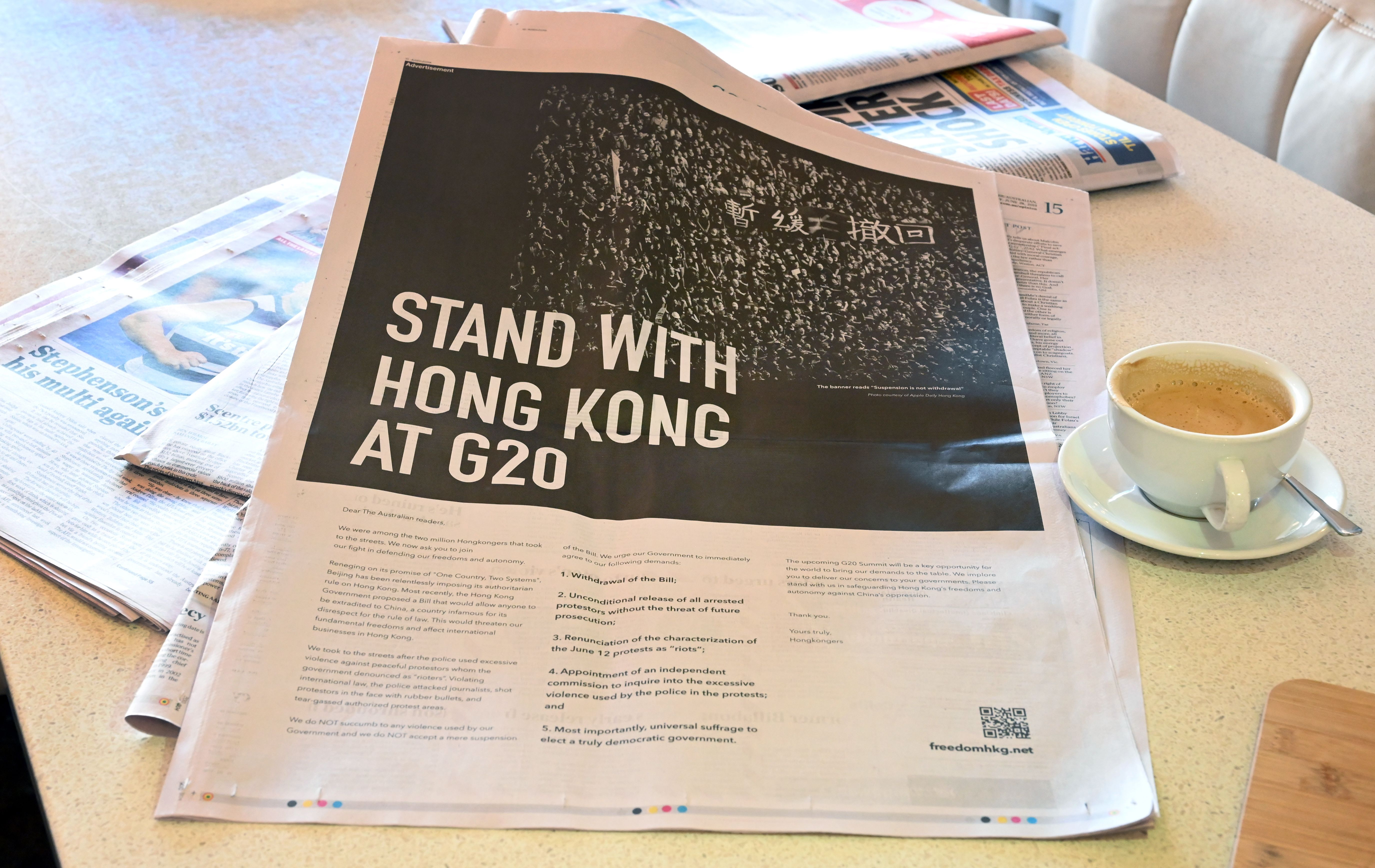 An ad in the national daily newspaper The Australian on June 28, 2019.