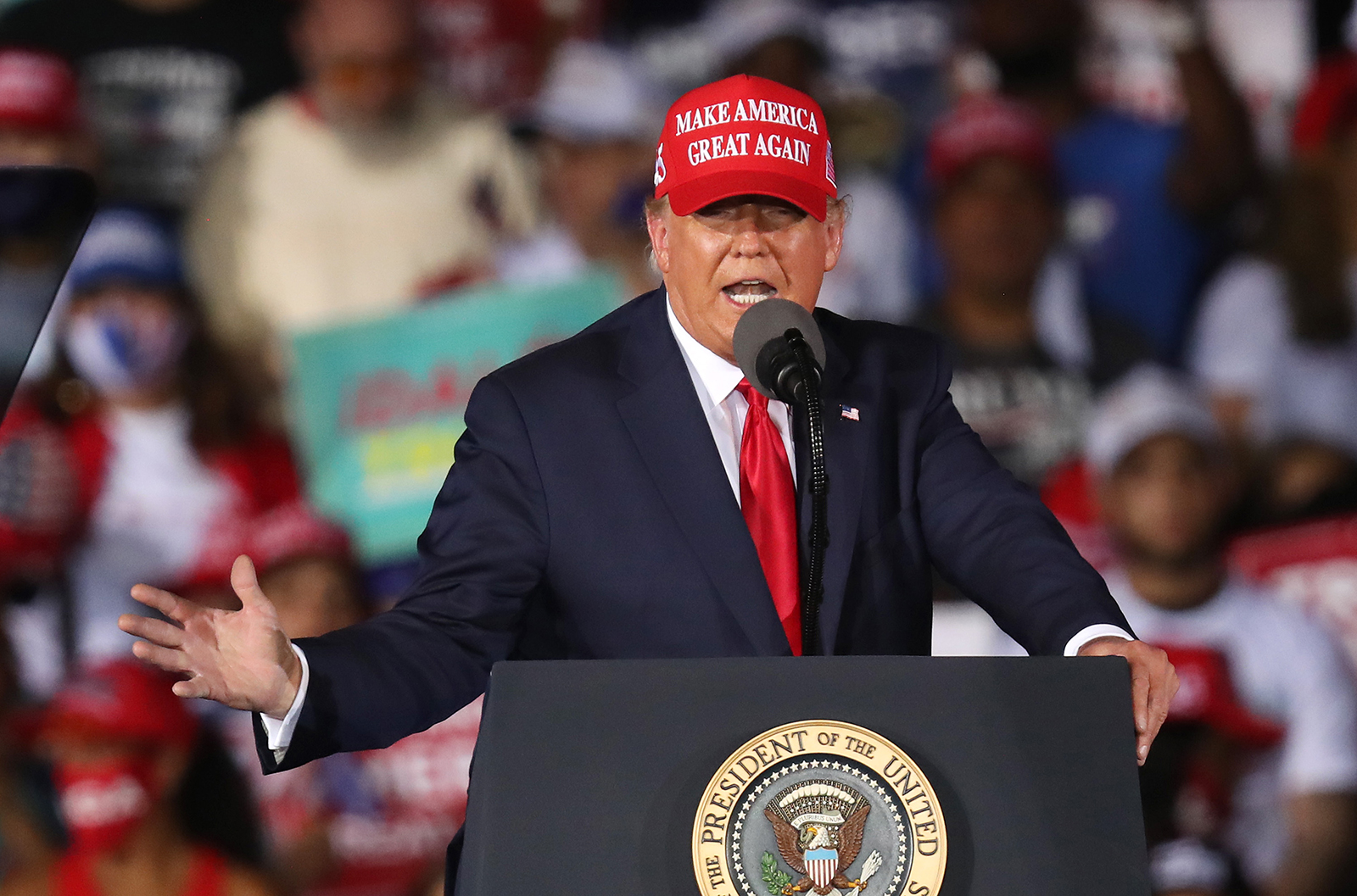 President Donald Trump speaks during his campaign event at Miami-Opa Locka Executive Airport in Opa Locka, Florida, on November 1, 2020 .