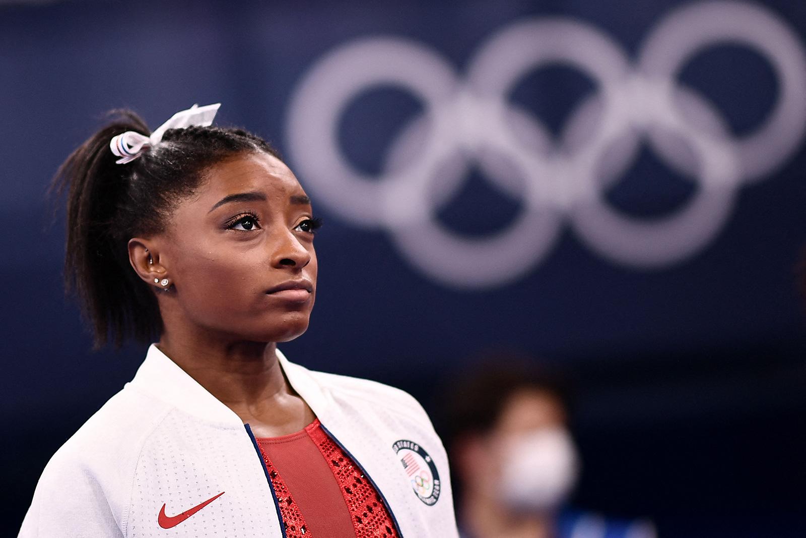 USA's Simone Biles watches the artistic gymnastics women's team final on July 27.