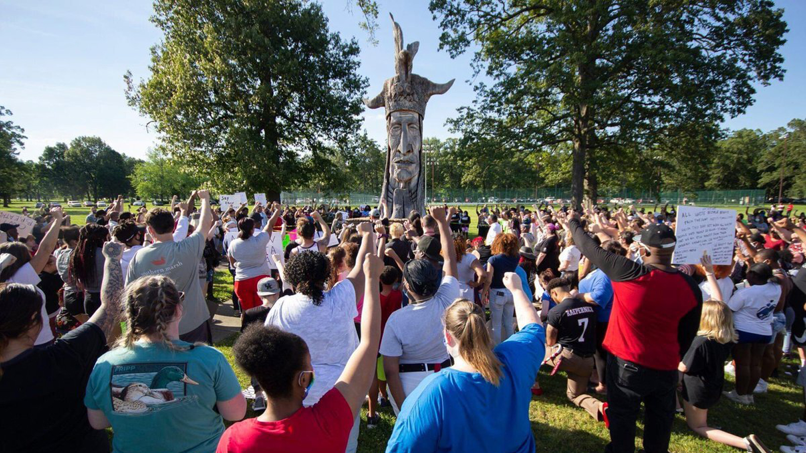 A peaceful protest in Paducah, Kentucky on Monday in front of the city's Chief Paduke statue.