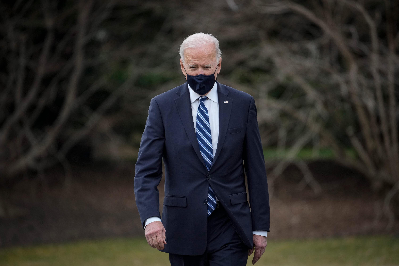 President Joe Biden walks toward Marine One on the South Lawn of the White House on March 16 in Washington, DC.