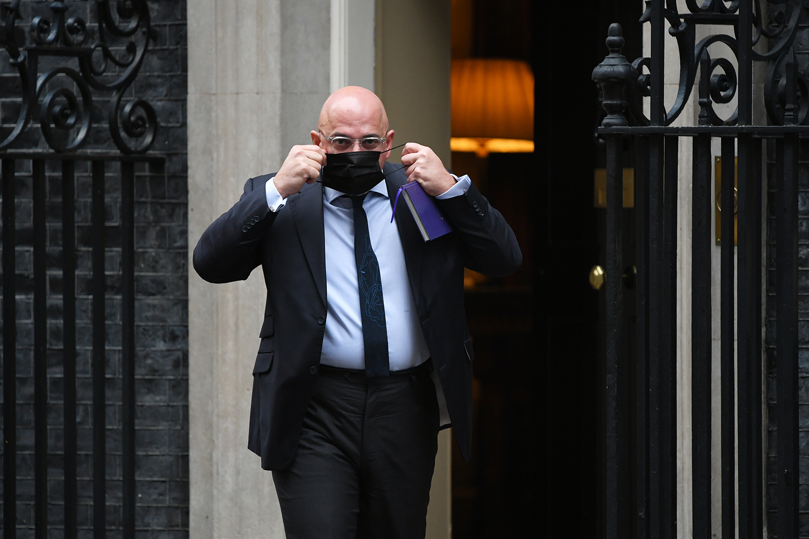 Minister for Covid-19 Vaccine Deployment Nadhim Zahawi leaves 10 Downing Street as the UK enters its third lockdown on January 5 in London.